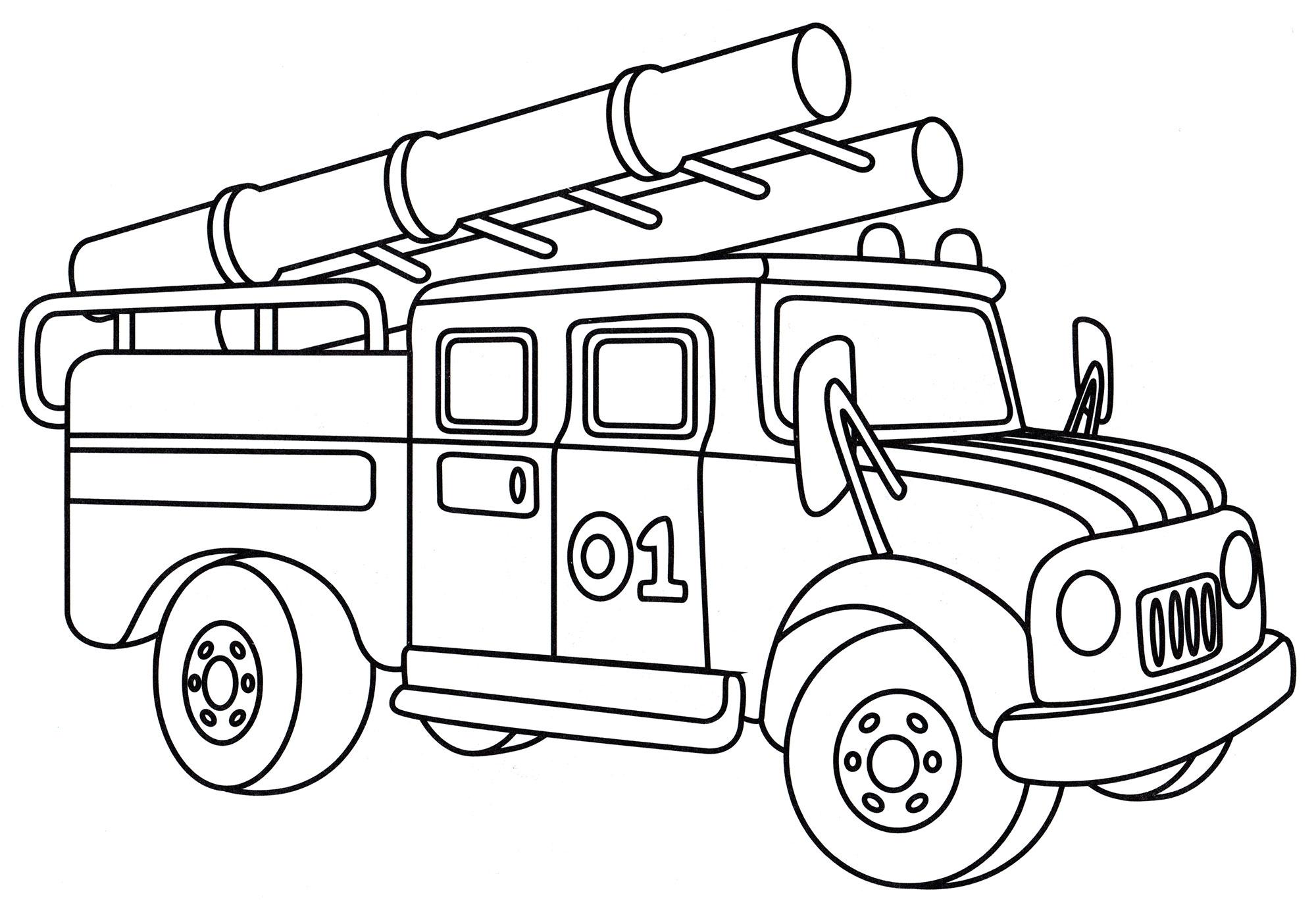 Раскраска Пожарная машина ЗИЛ - распечатать бесплатно