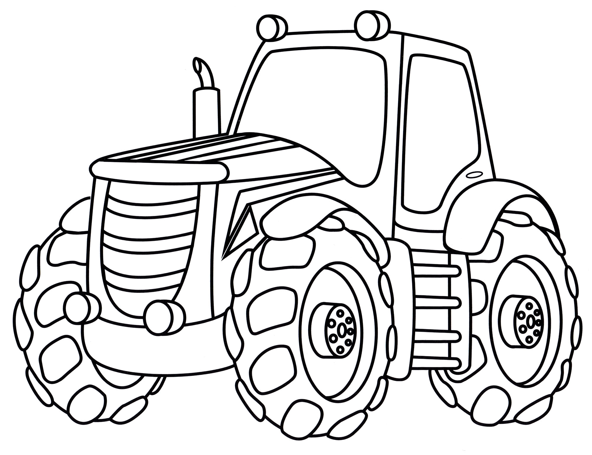 Раскраска Современный трактор - распечатать бесплатно