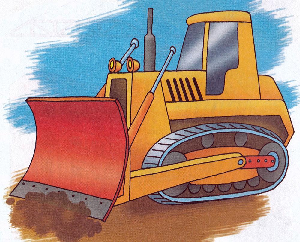 Раскраска Бульдозер с ковшом - распечатать бесплатно
