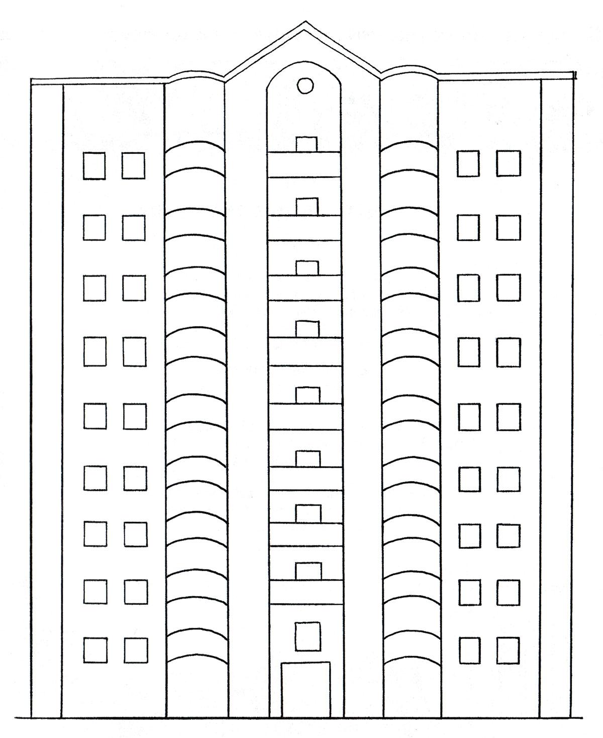 Картинки трехэтажного дома для раскрашивания
