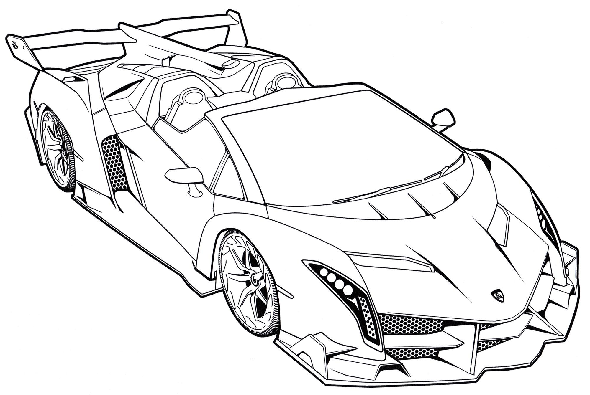 Раскраска Lamborgini Veneno Roadster - распечатать бесплатно