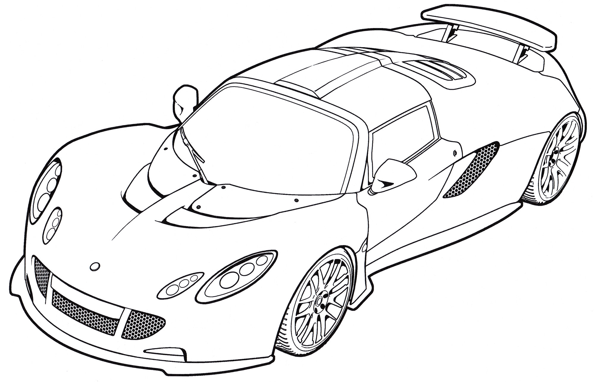 Раскраска Hennessey Venom GT Spyder - распечатать бесплатно