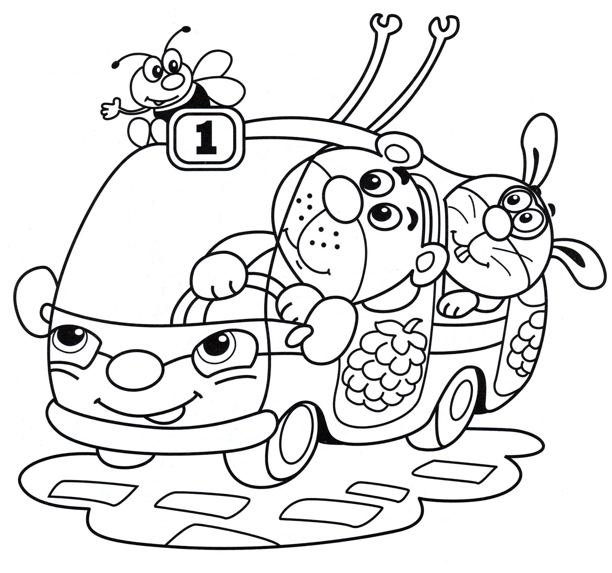 Раскраска Троллейбус с животными - распечатать бесплатно