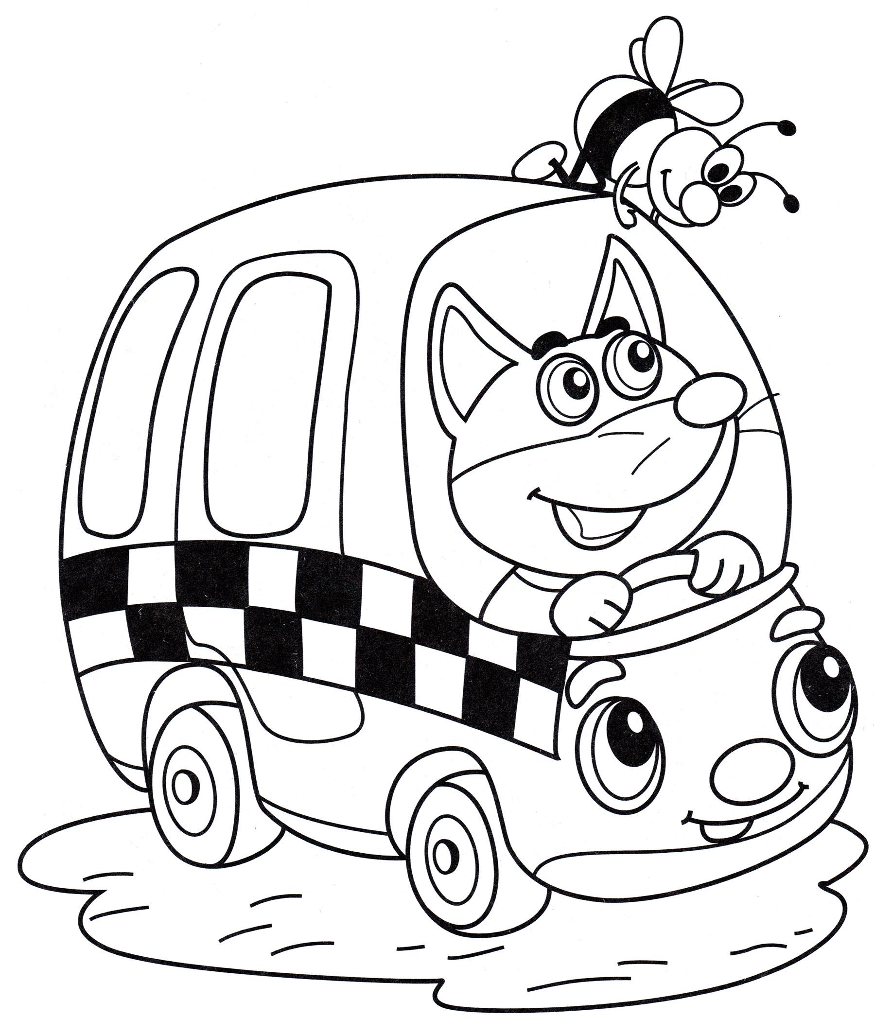 Раскраска Такси с лисенком - распечатать бесплатно