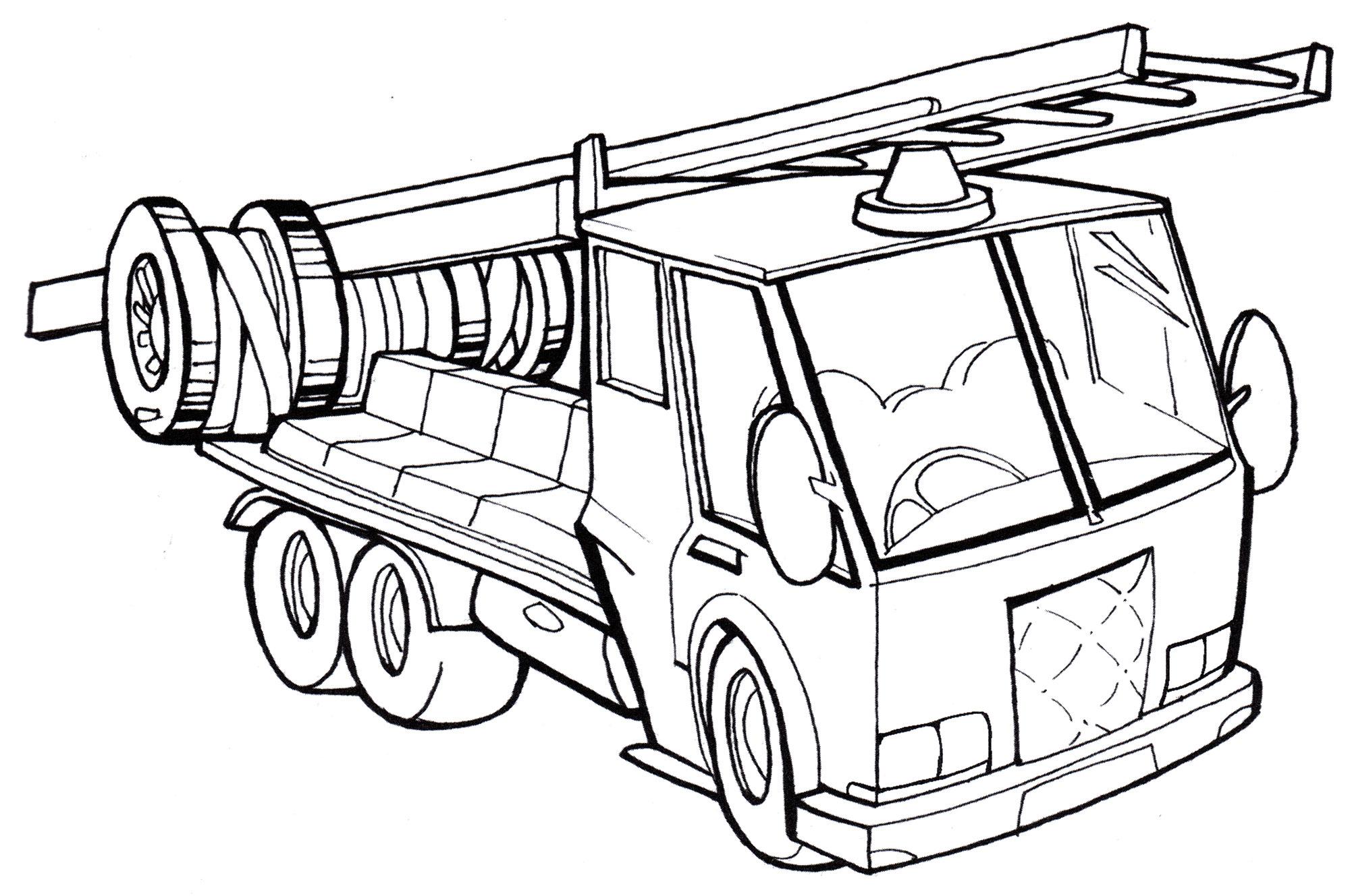Раскраска Пожарная машина с лестницей - распечатать бесплатно