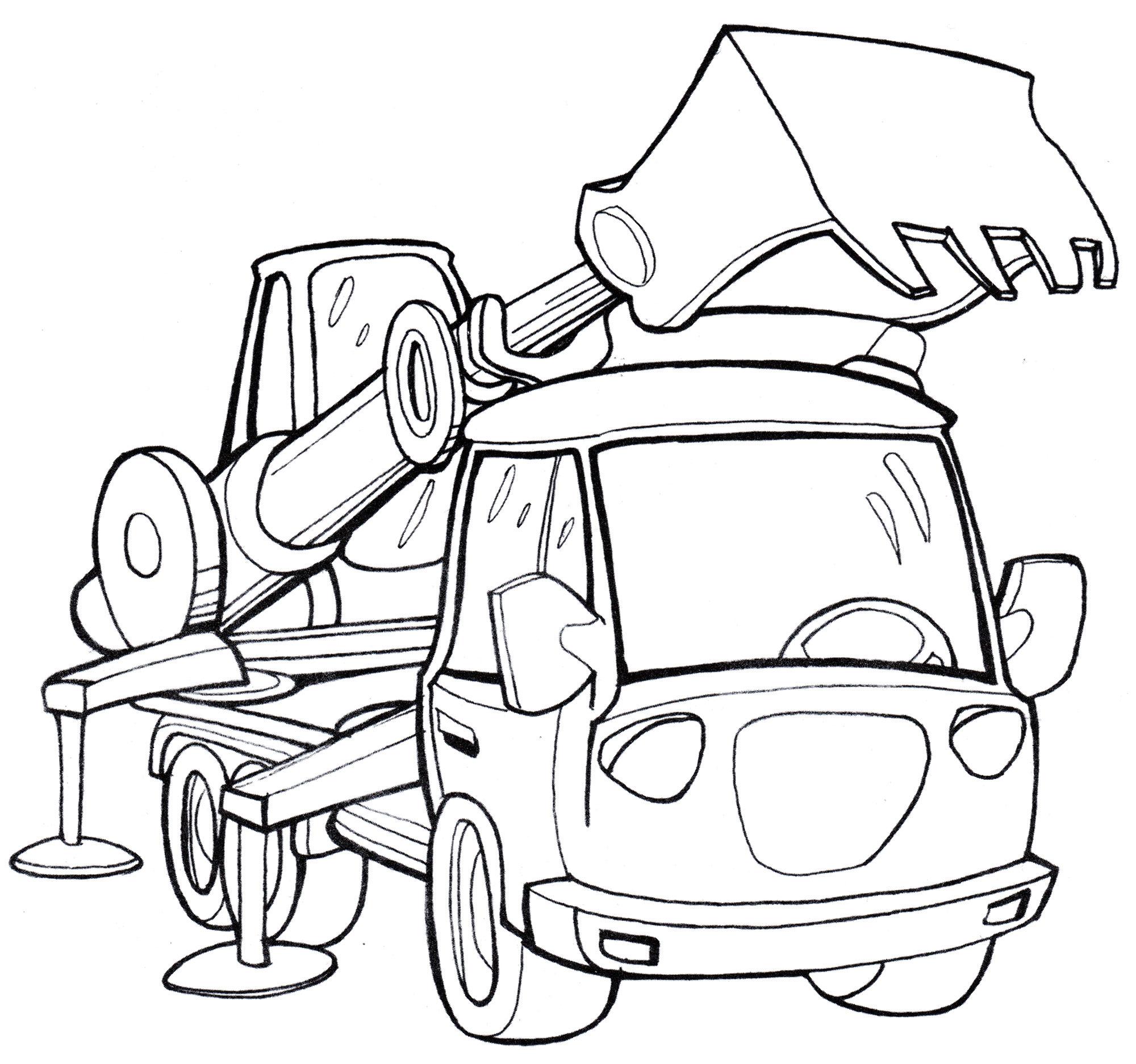 Раскраска Машина-экскаватор - распечатать бесплатно