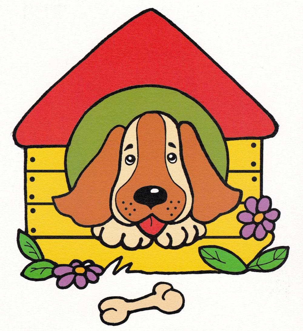 Раскраска Собачка в будке - распечатать бесплатно
