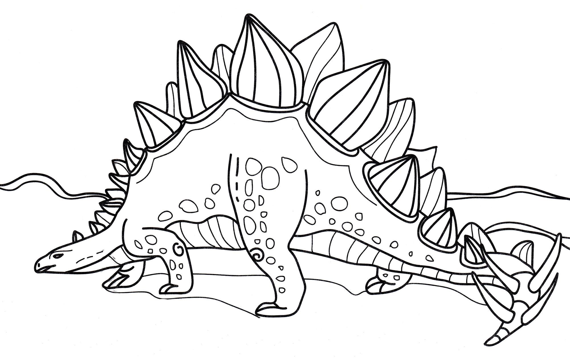Раскраска Стегозавр на прогулке | Раскраски динозавры