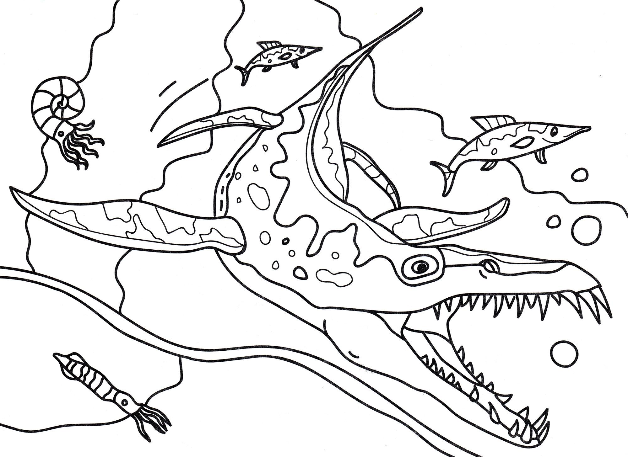 Раскраска Лиоплевродон в воде   Раскраски динозавры
