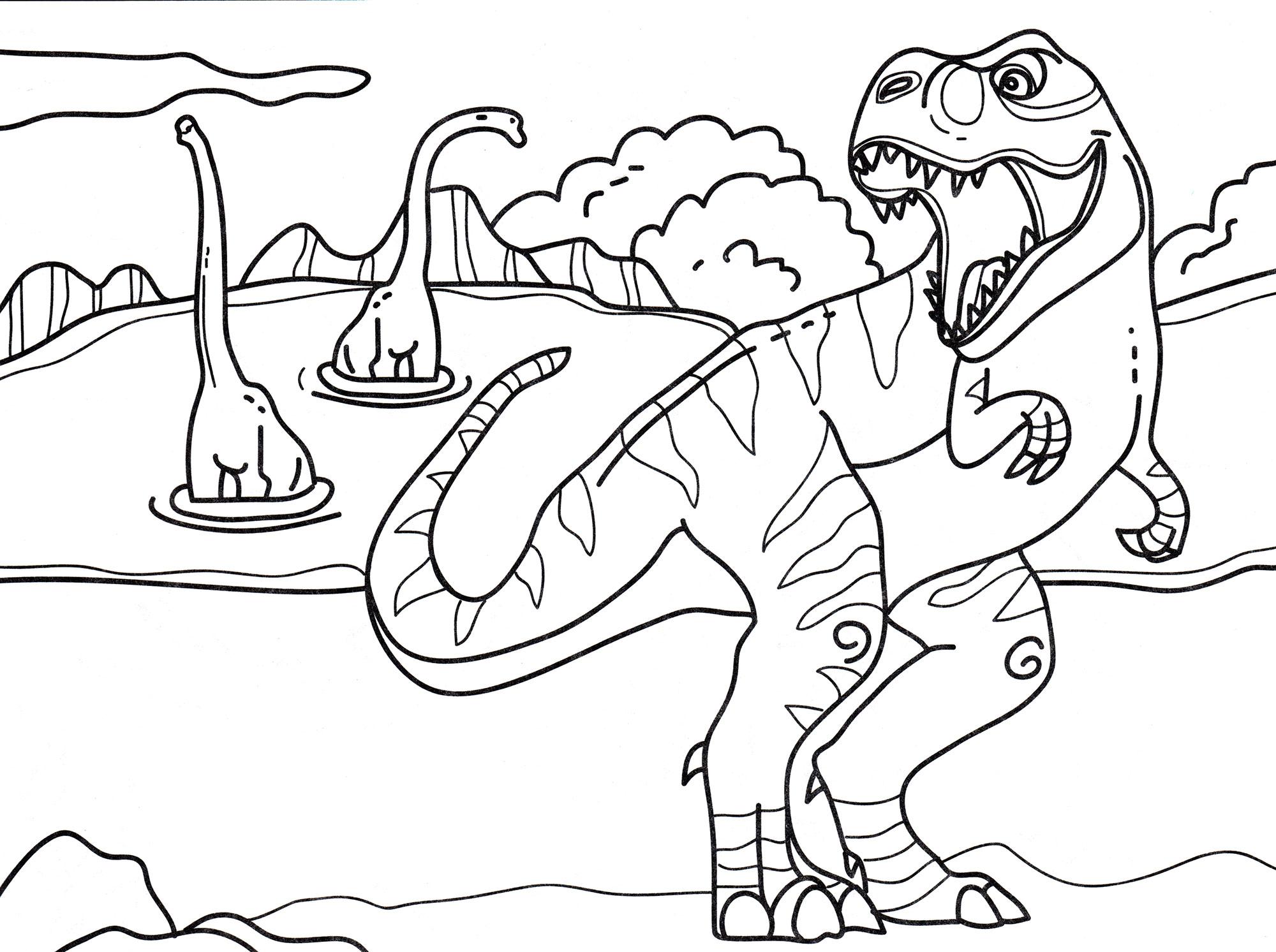 Раскраска Тираннозавр охотится | Раскраски динозавры