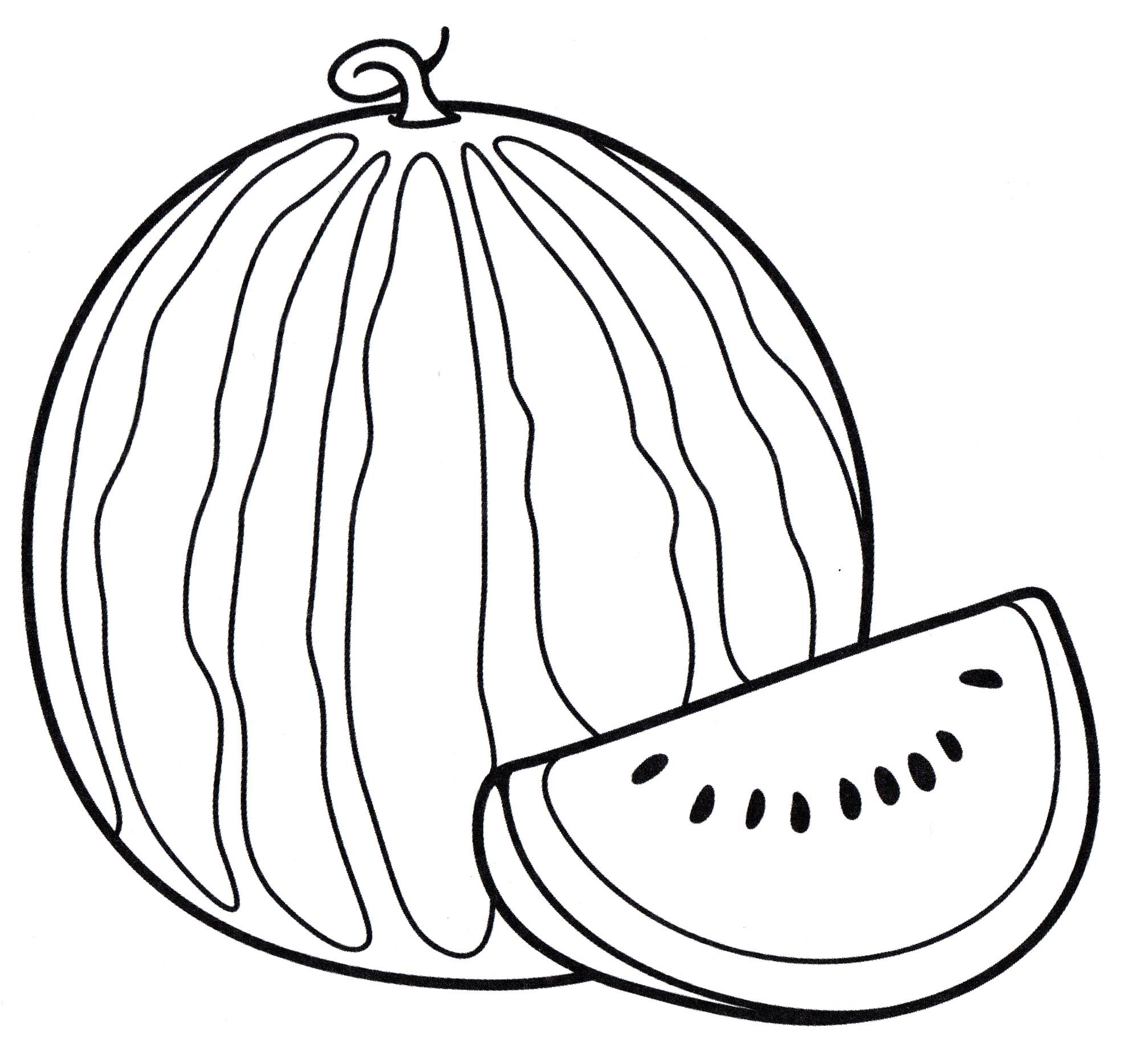 Раскраска Вкусный арбуз - распечатать бесплатно