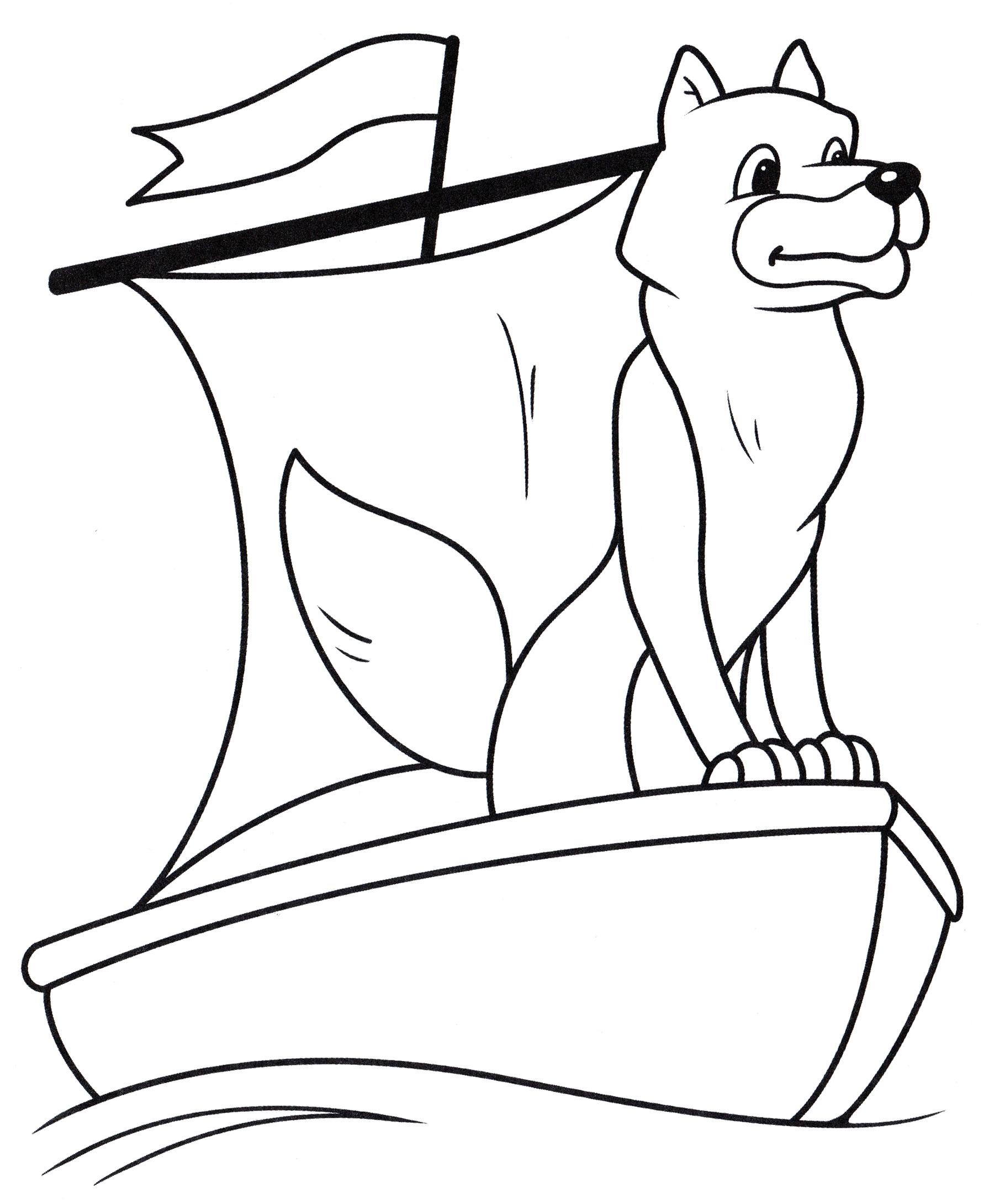 Раскраска Волк на лодке - распечатать бесплатно
