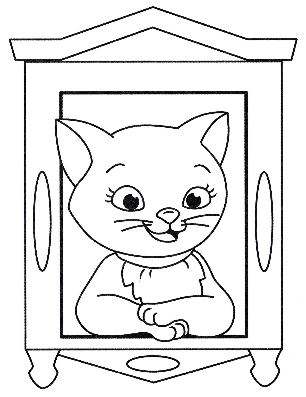 Раскраска Кошка в окошке - распечатать бесплатно