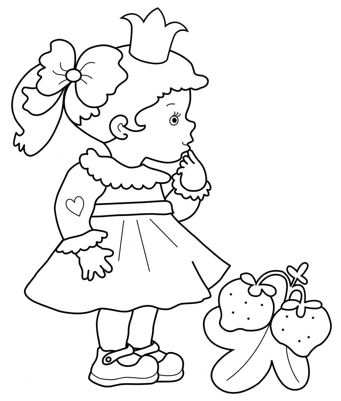Раскраска Принцесса и клубничка - распечатать бесплатно