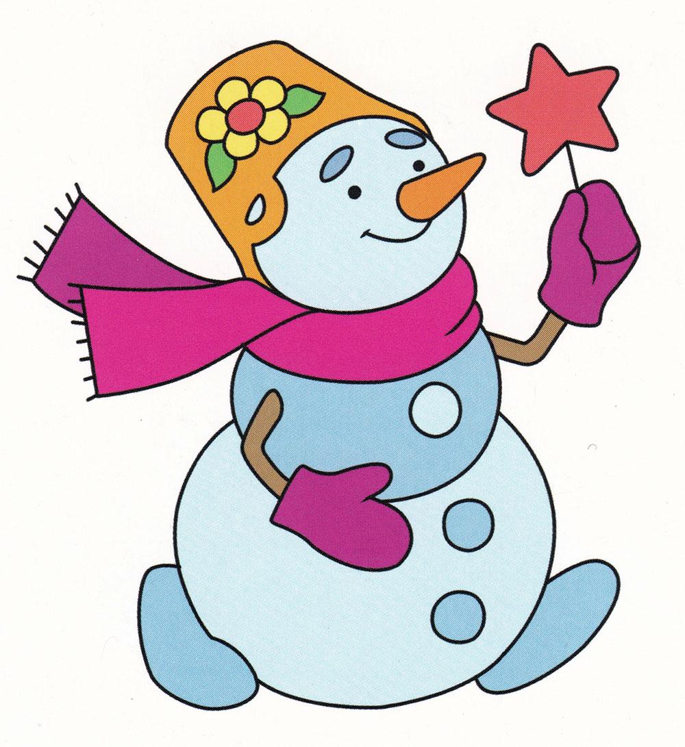 Раскраска Милый снеговик - распечатать бесплатно