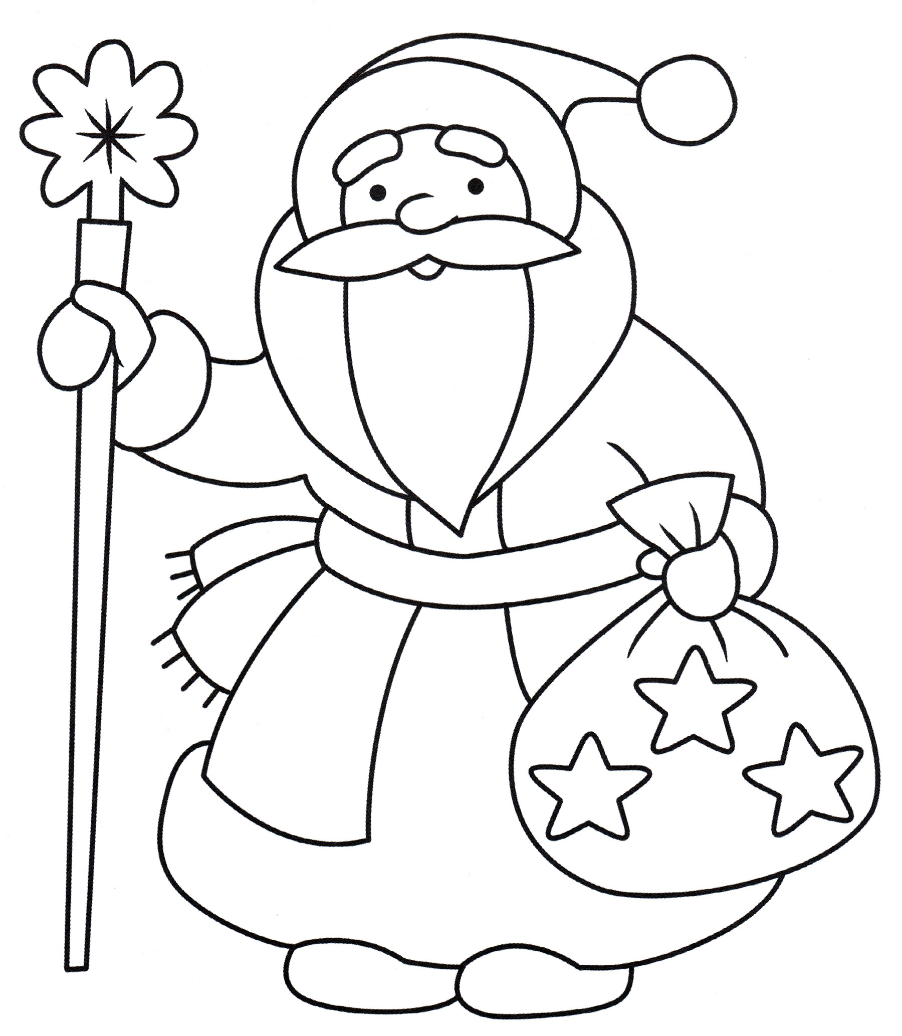Раскраска Дед мороз приготовил подарки - распечатать бесплатно