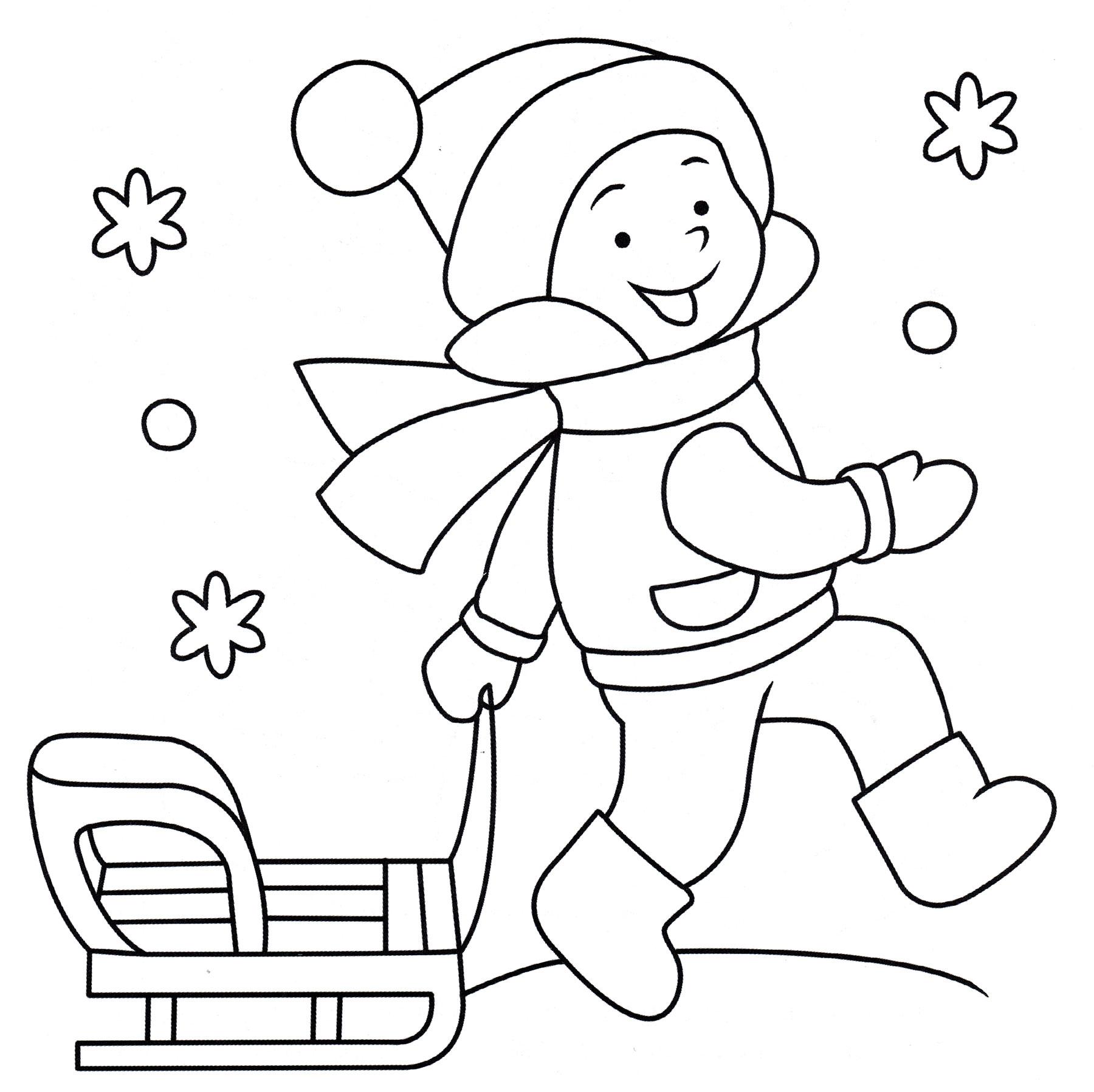 Раскраска Мальчик с санками - распечатать бесплатно