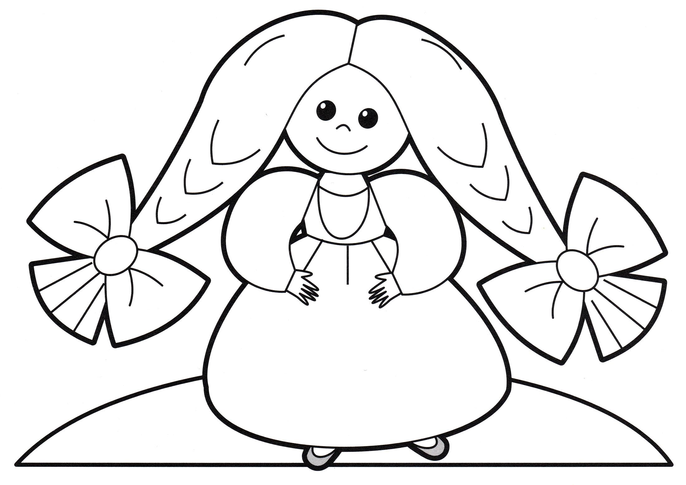Раскраска Принцесса с бантиками - распечатать бесплатно