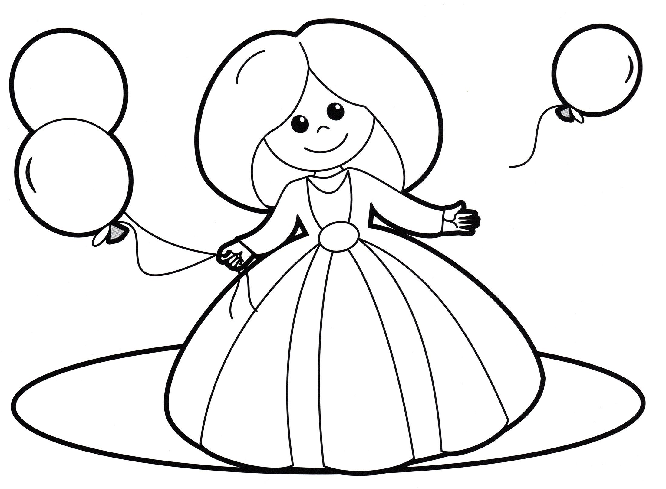 Раскраска Кукла с шариками - распечатать бесплатно