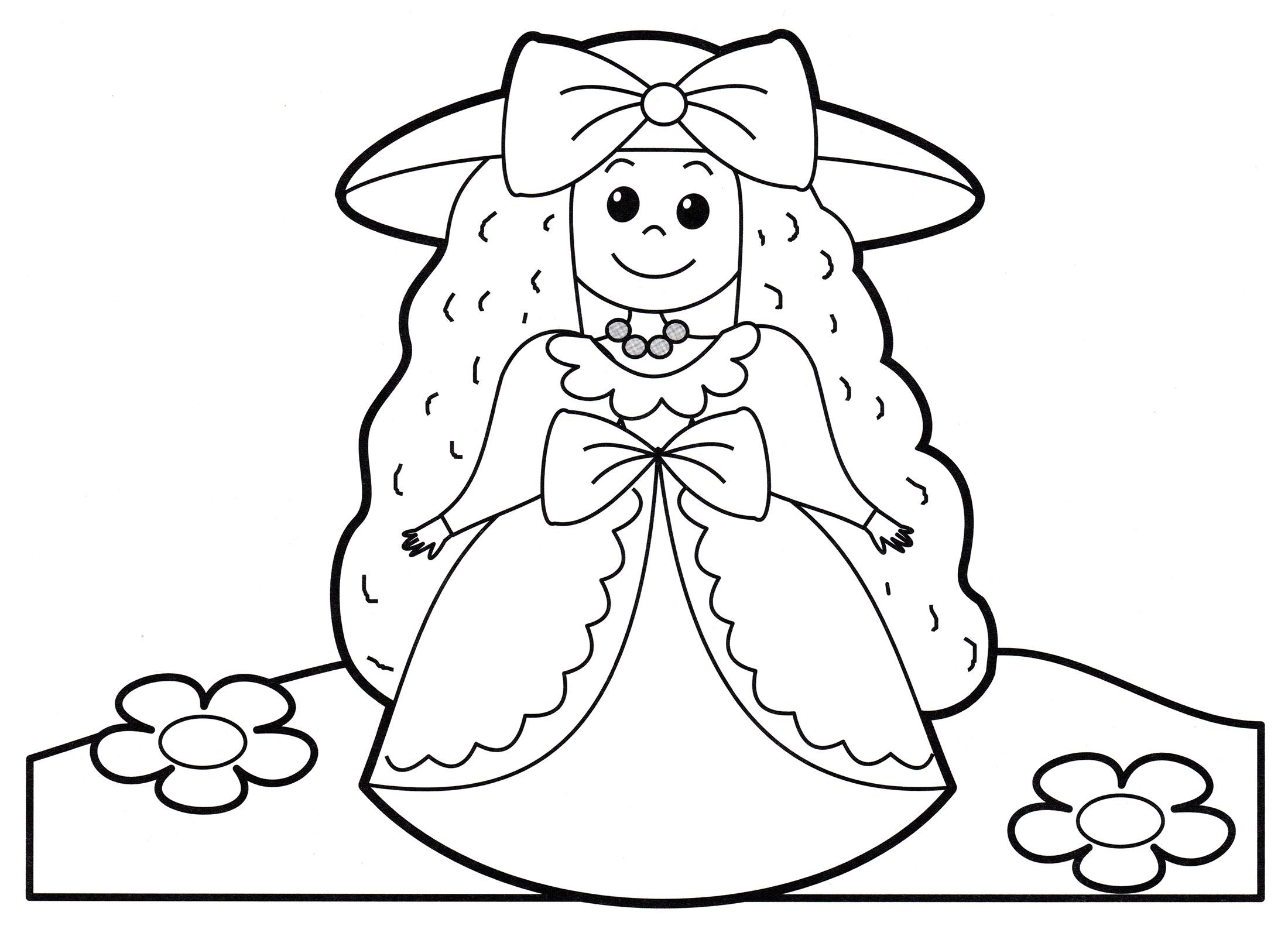 Раскраска Принцесса в красивом платье - распечатать бесплатно