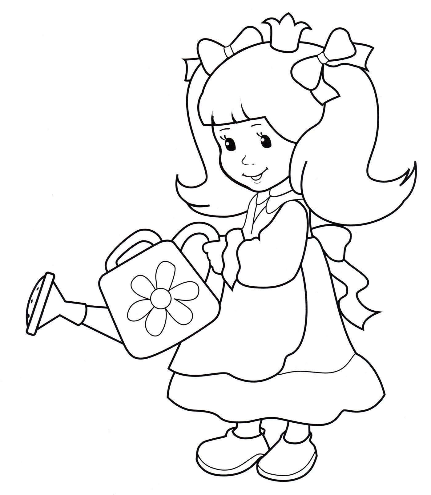 Раскраска Принцесса с лейкой - распечатать бесплатно