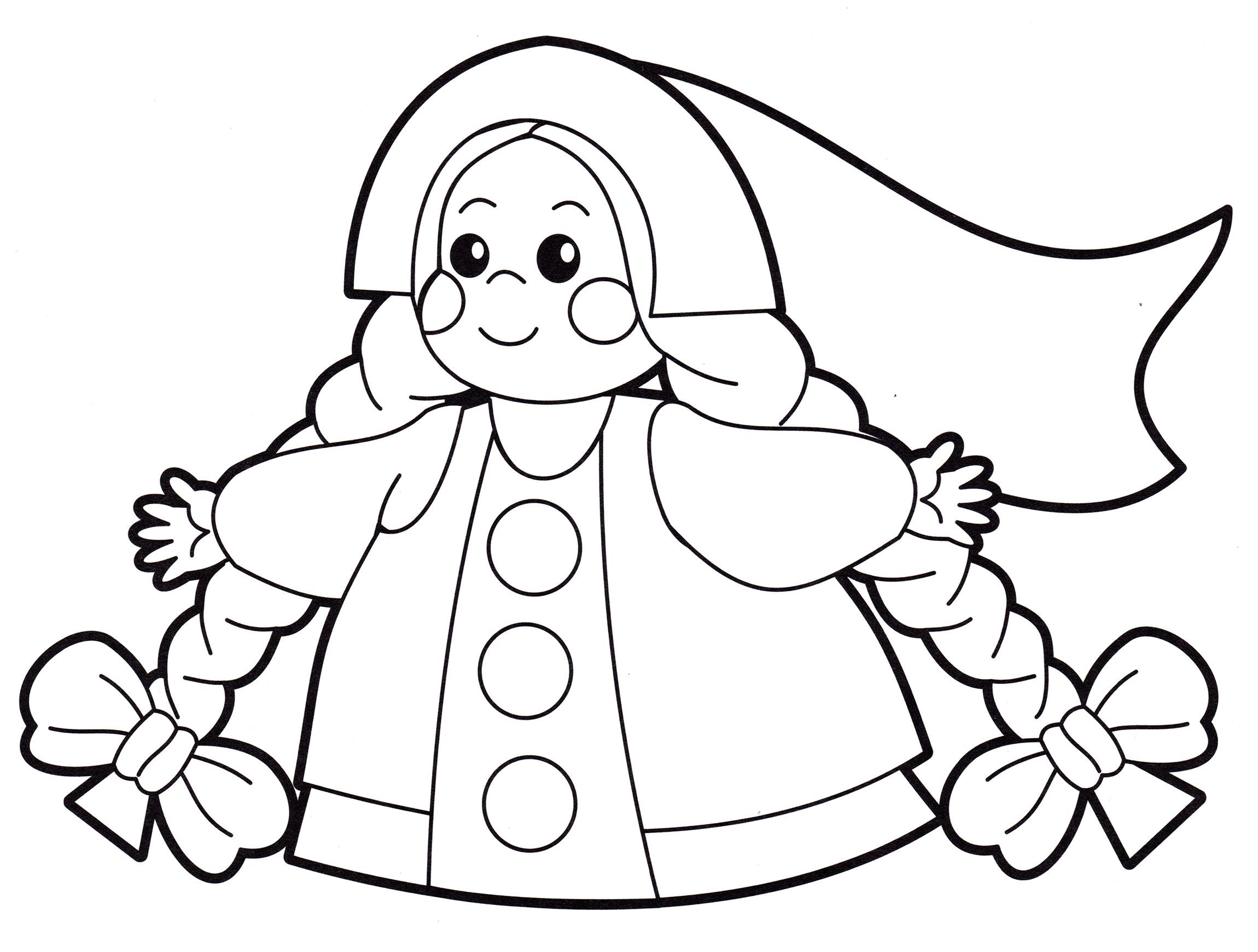 Раскраска Кукла с косичками - распечатать бесплатно