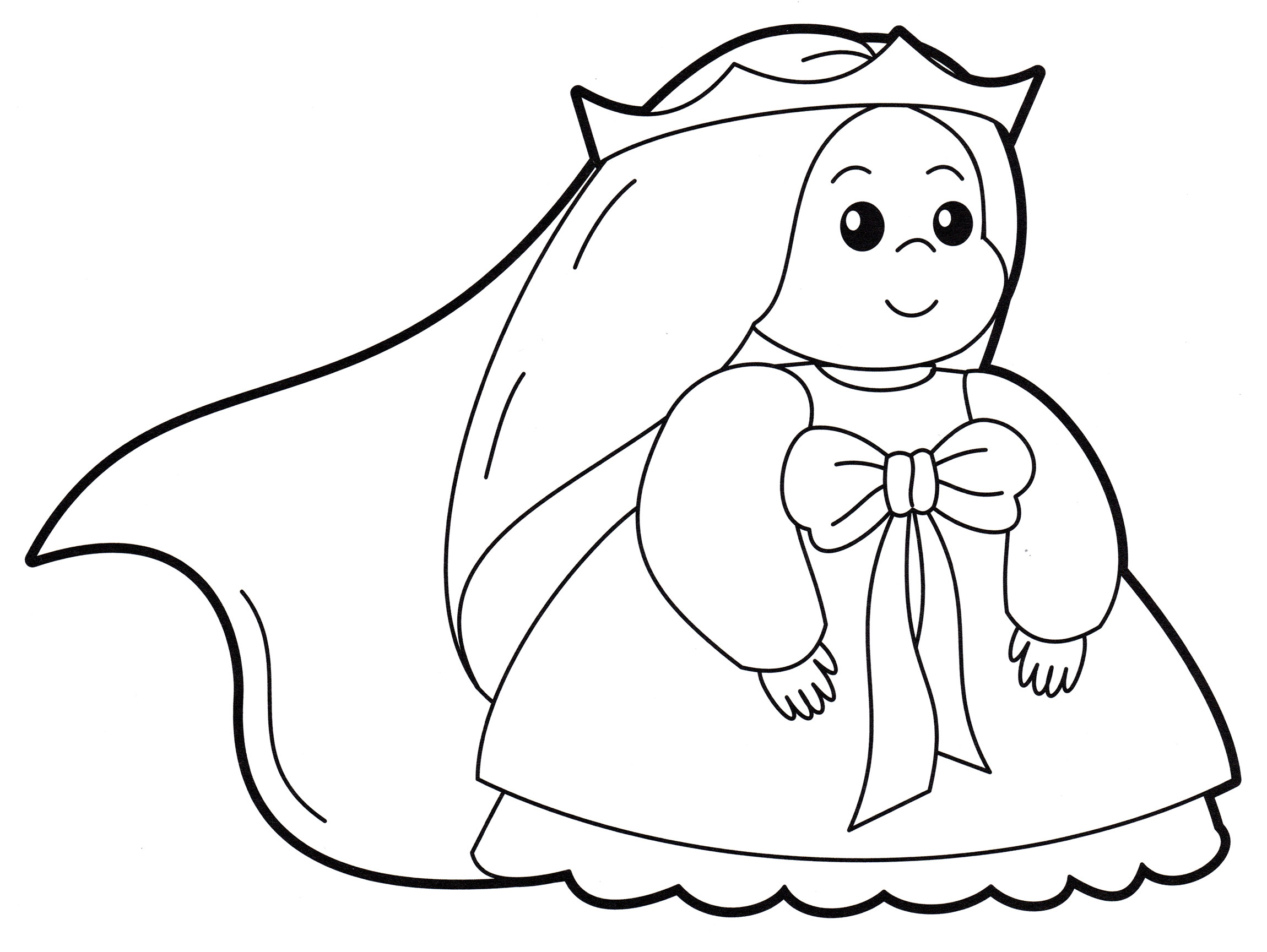 Раскраска Маленькая принцесса в короне - распечатать бесплатно