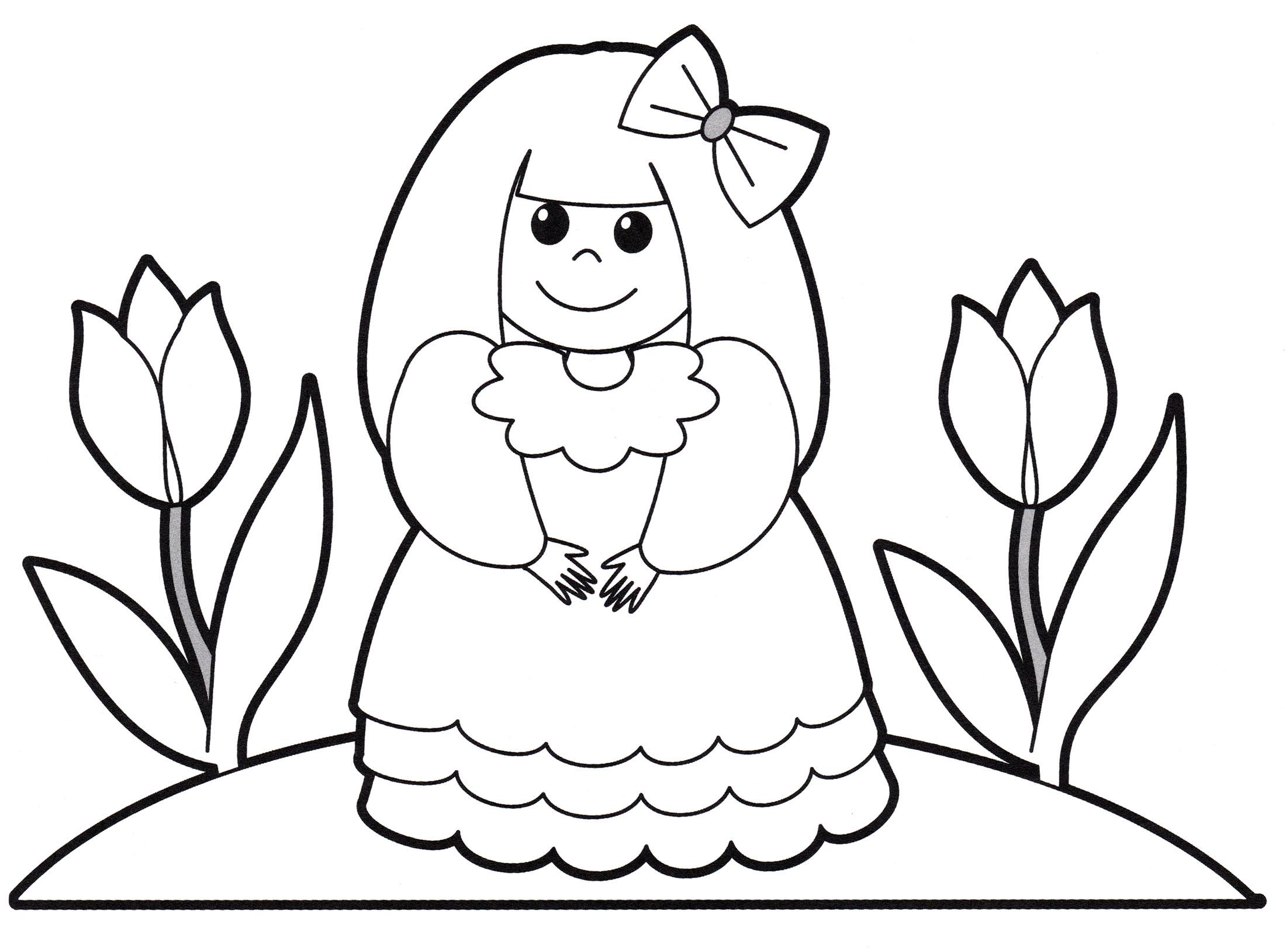 Раскраска Принцесса с бантиком - распечатать бесплатно