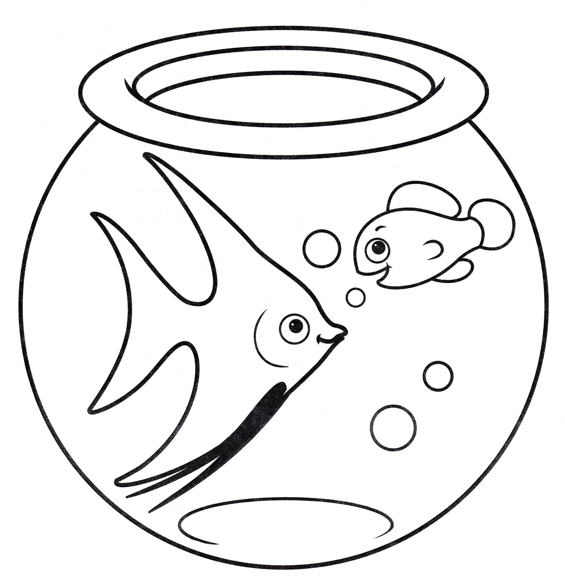 Раскраска Две рыбки в аквариуме - распечатать бесплатно