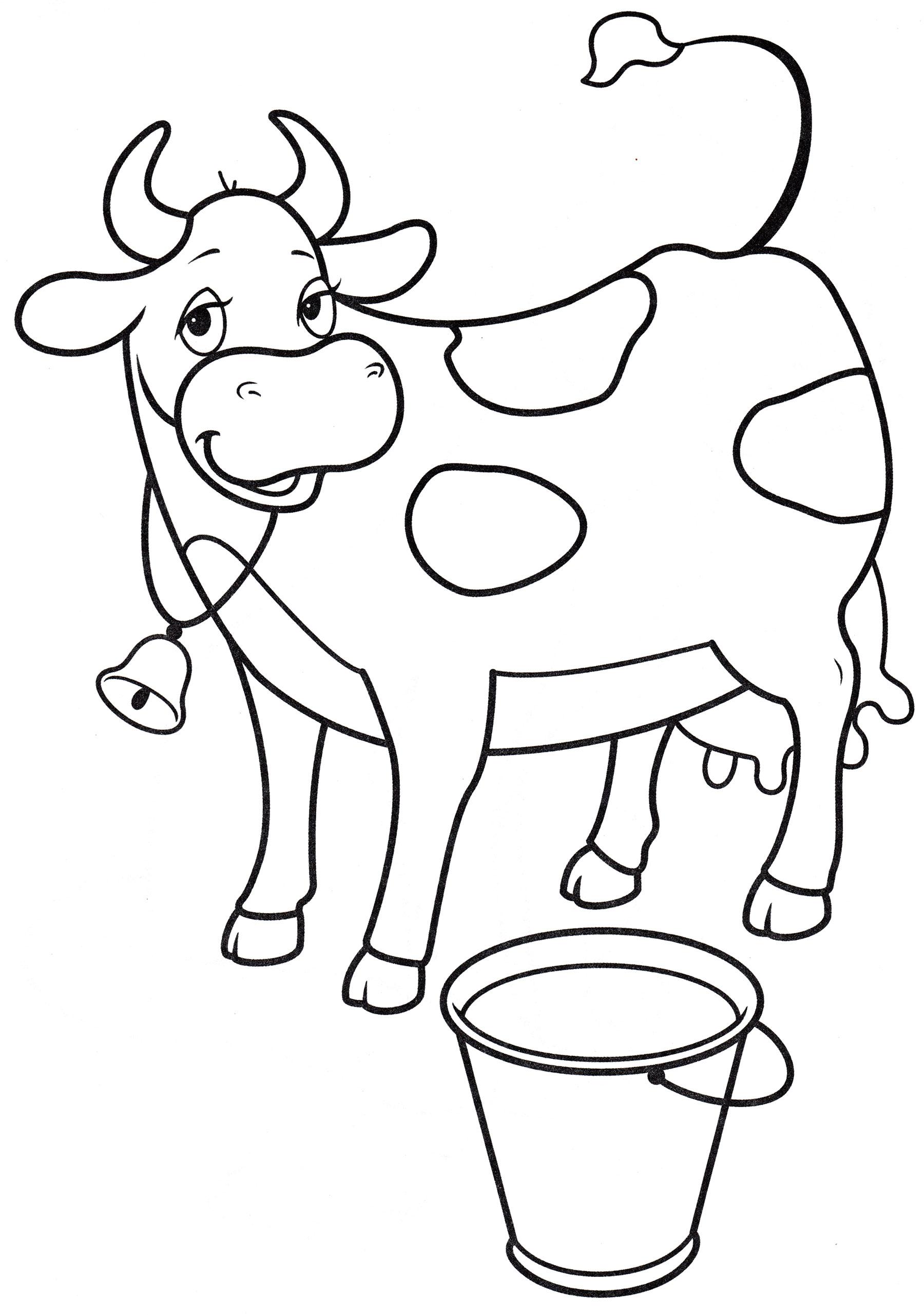 Раскраска Корова и ведро молока - распечатать бесплатно