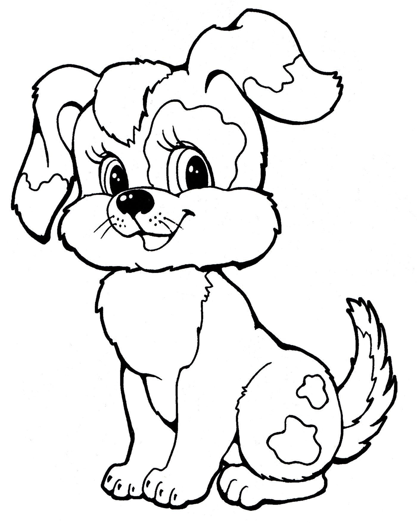 Раскраска Веселая собачка - распечатать бесплатно