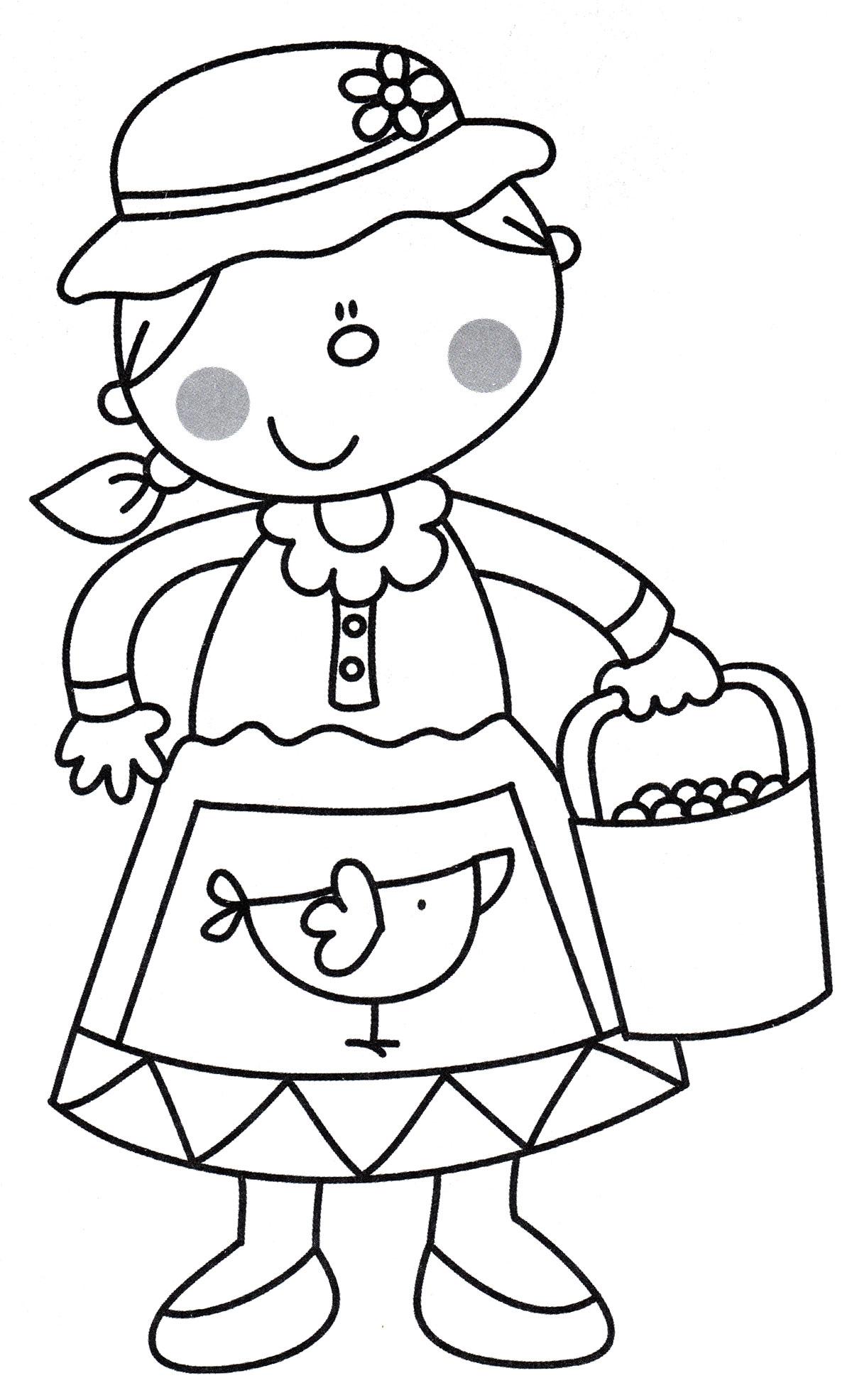 Раскраска Фермерша с ведром - распечатать бесплатно