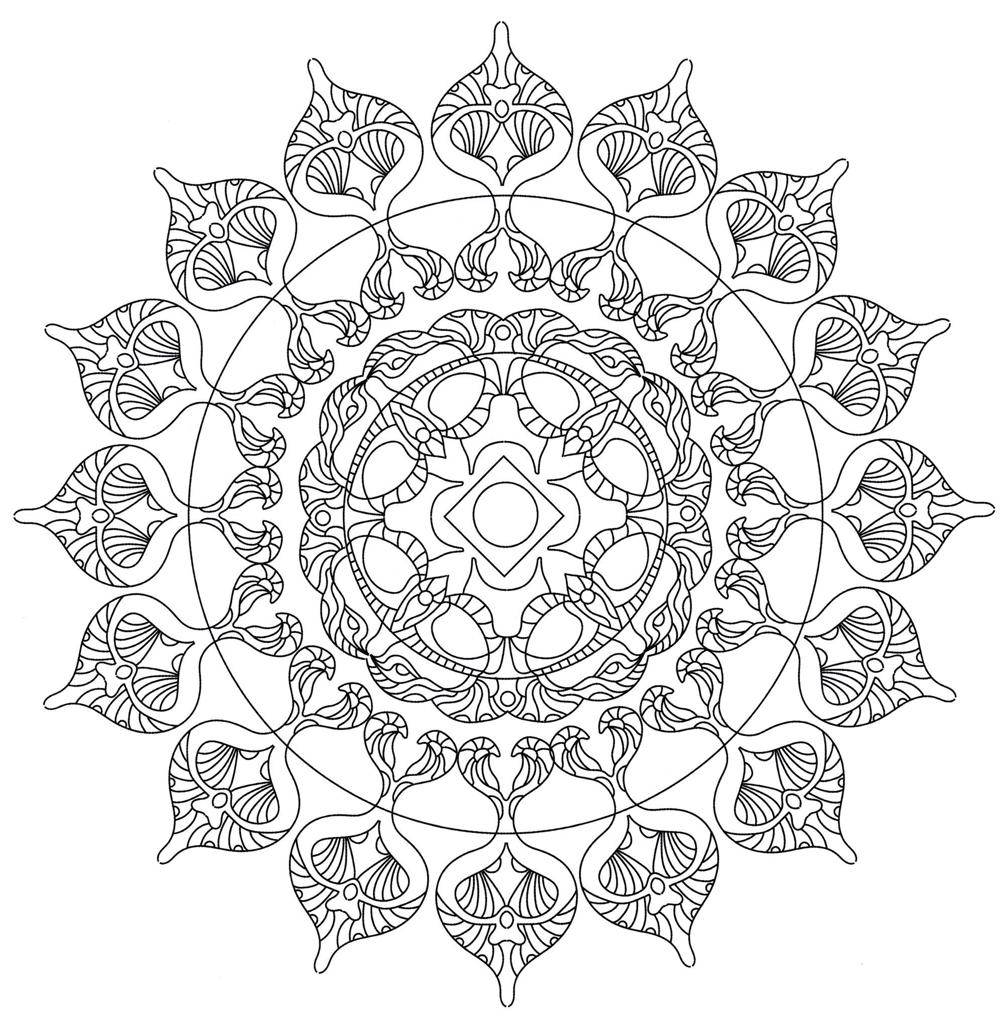 Раскраска Мандала Цветы востока - распечатать бесплатно