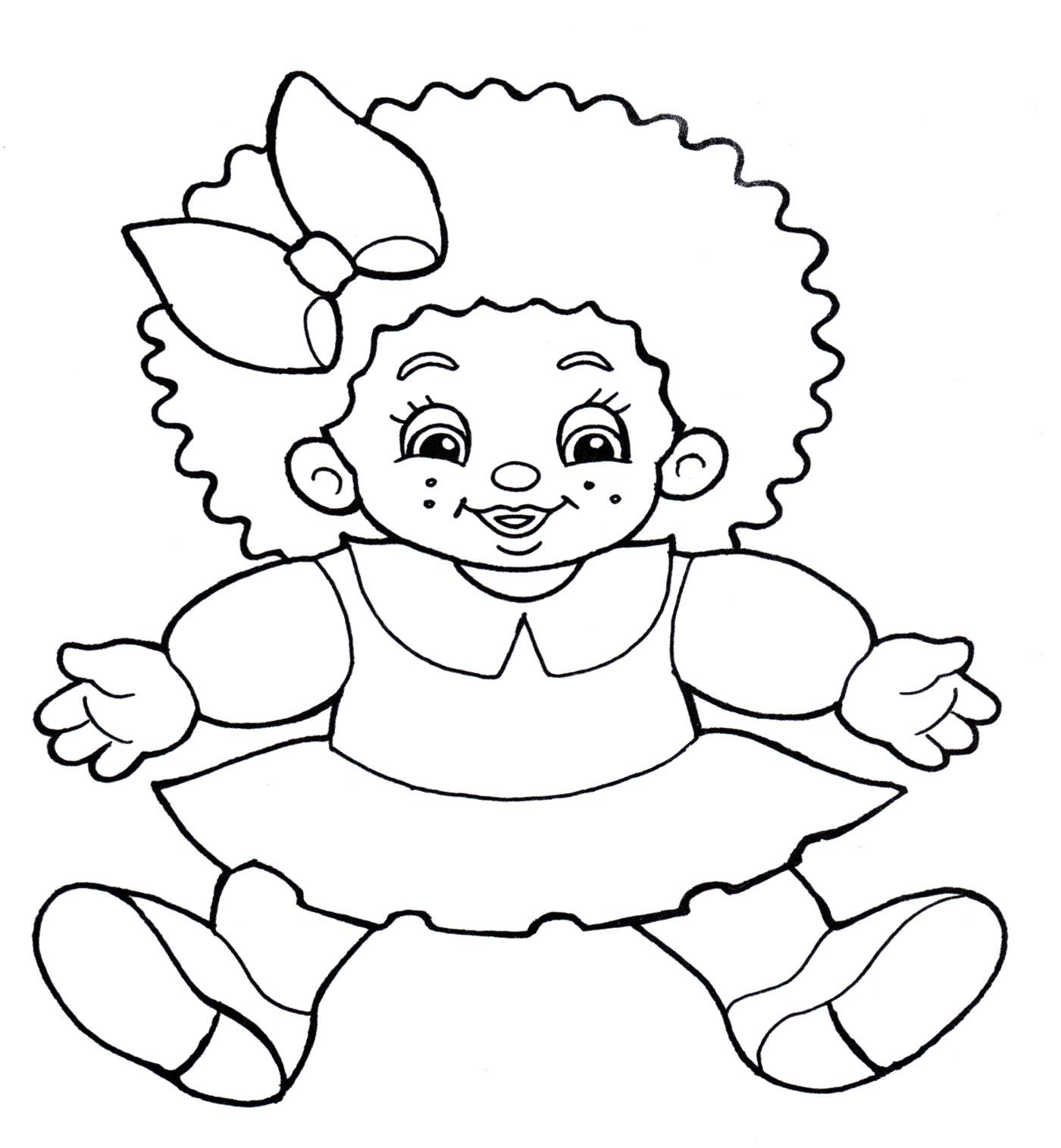 Раскраска Кукла в платье - распечатать бесплатно