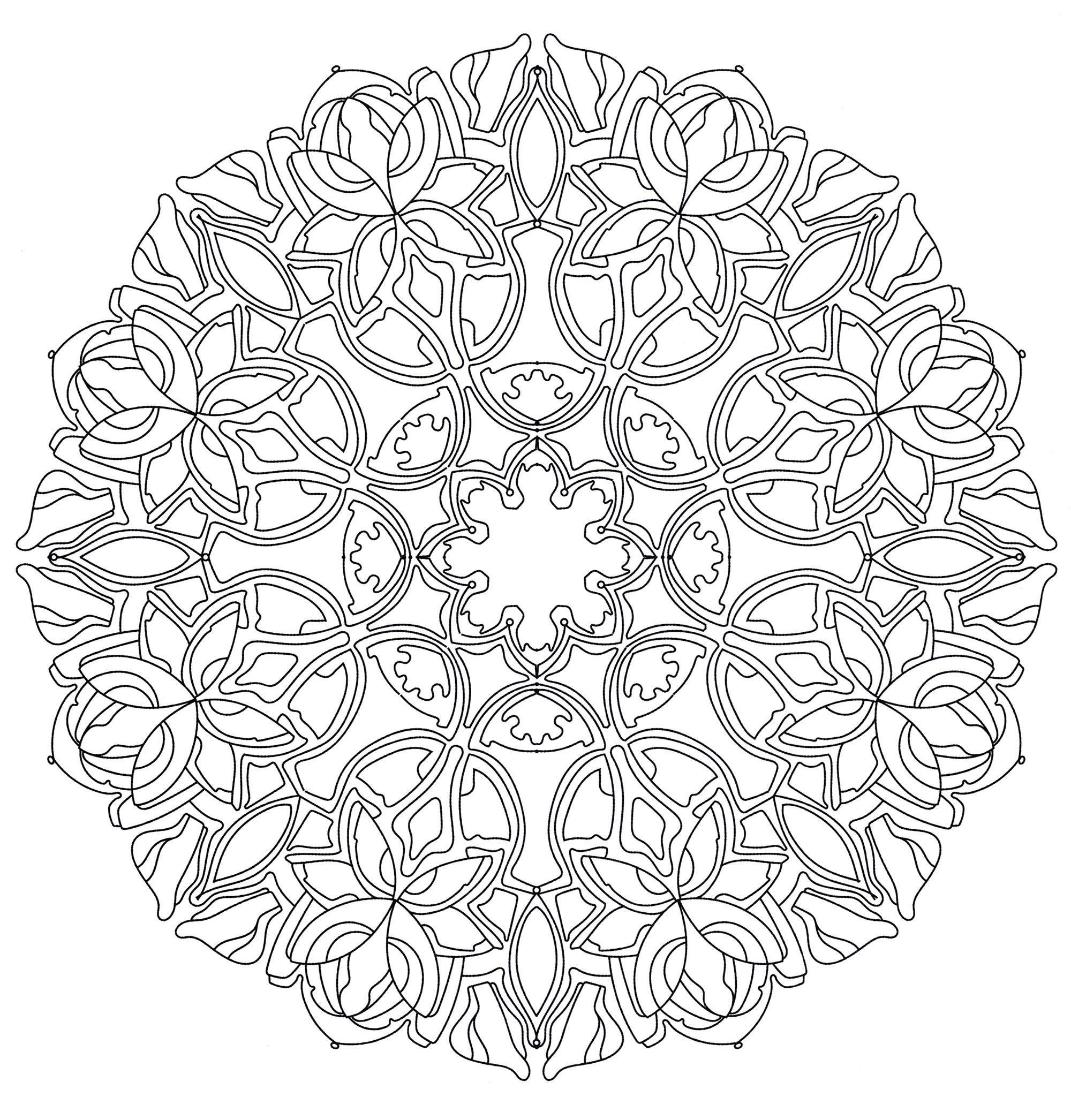 Раскраска Мандала Зимние узоры - распечатать бесплатно