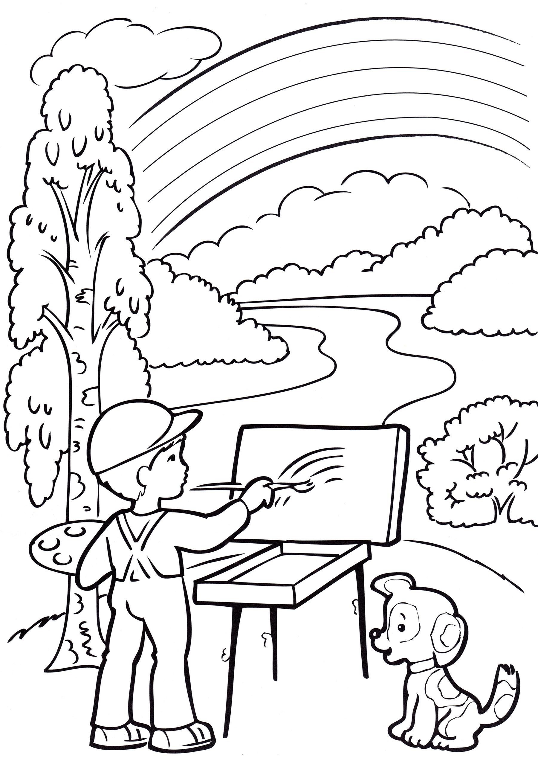 Раскраска Летний пейзаж - распечатать бесплатно