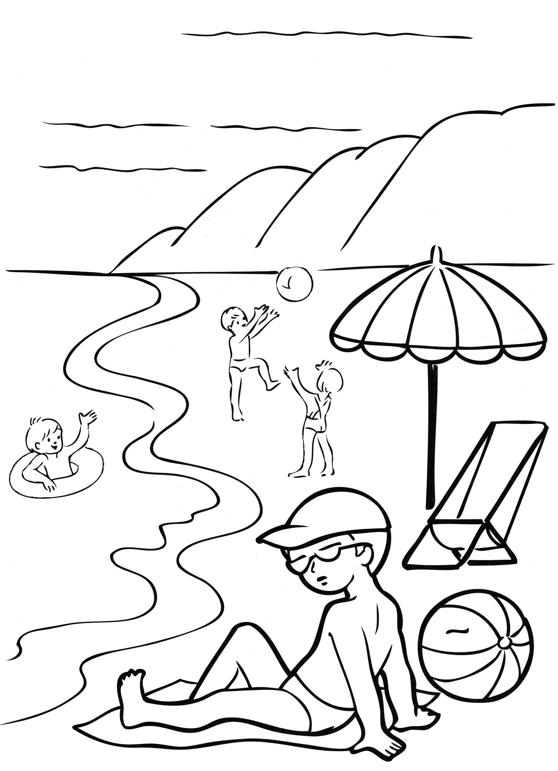 Раскраска Дети на море - распечатать бесплатно