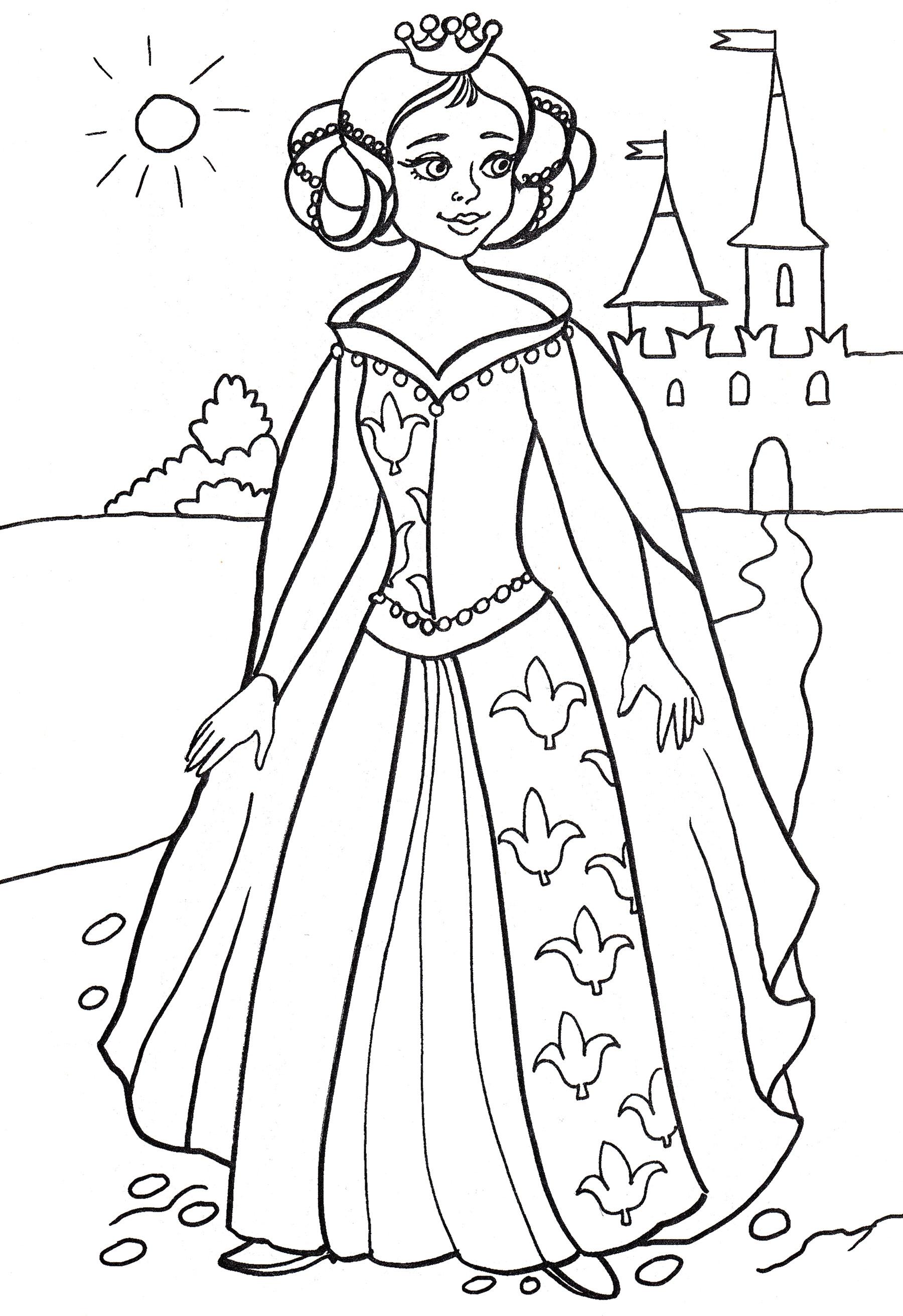Раскраска Принцесса у замка - распечатать бесплатно