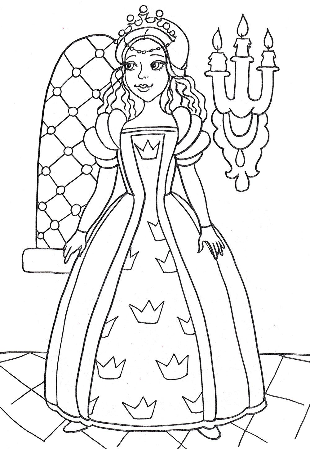 Раскраска Принцесса собралась на бал - распечатать бесплатно