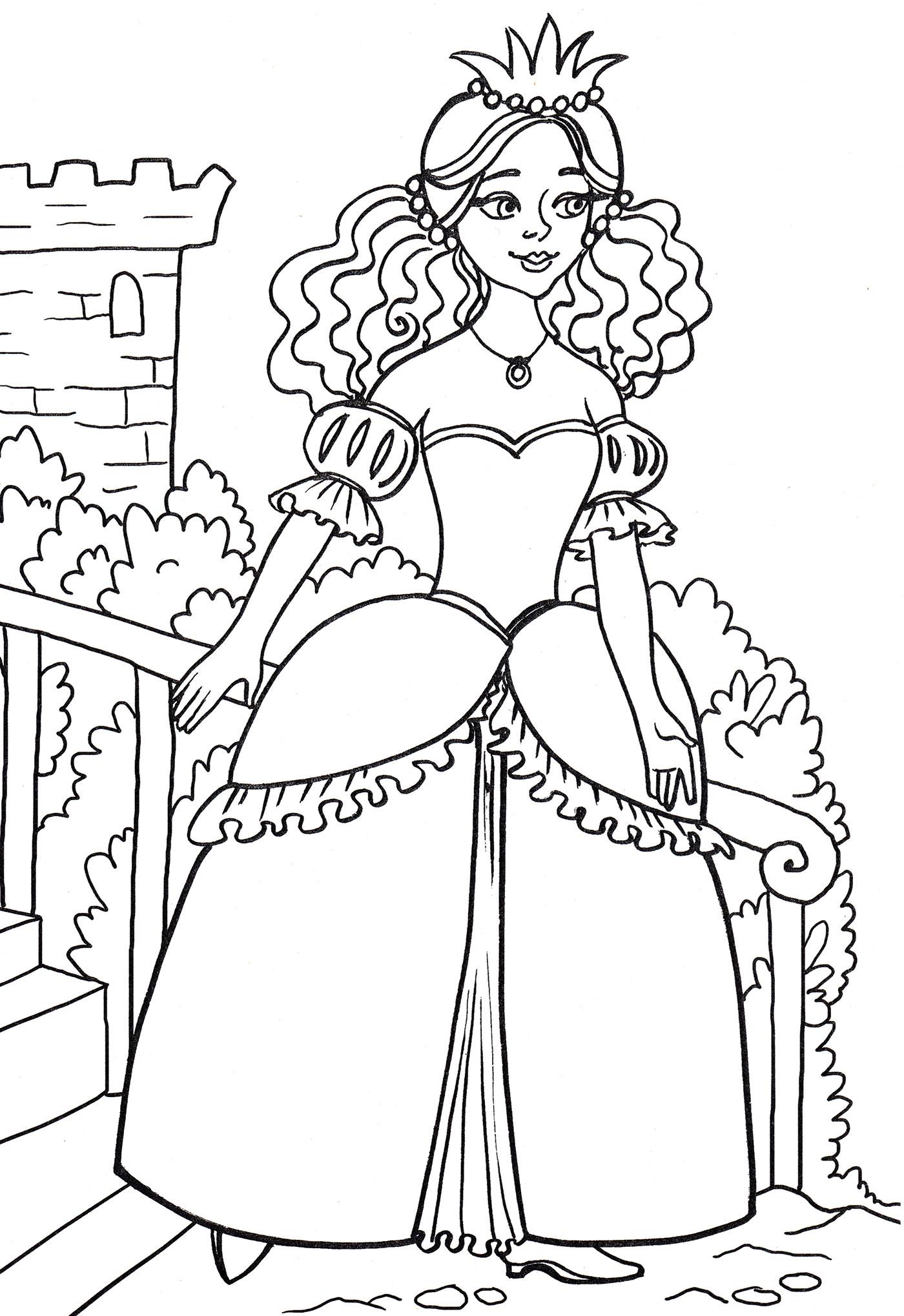 Раскраска Принцесса на балконе - распечатать бесплатно