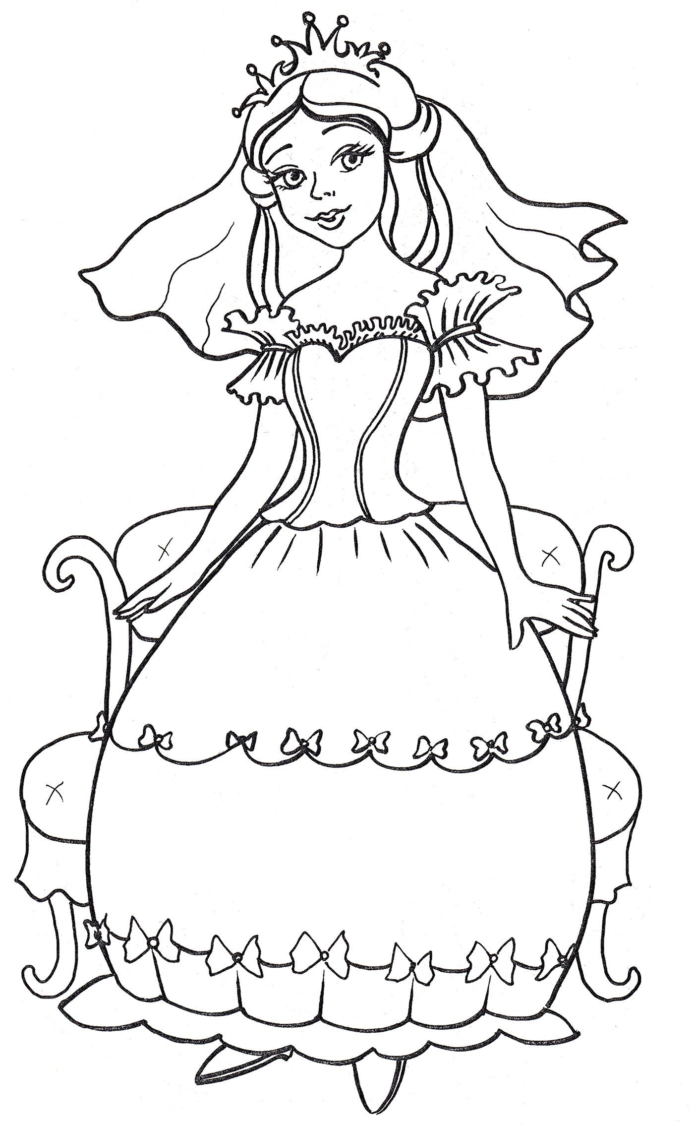 Раскраска Милая принцесса - распечатать бесплатно