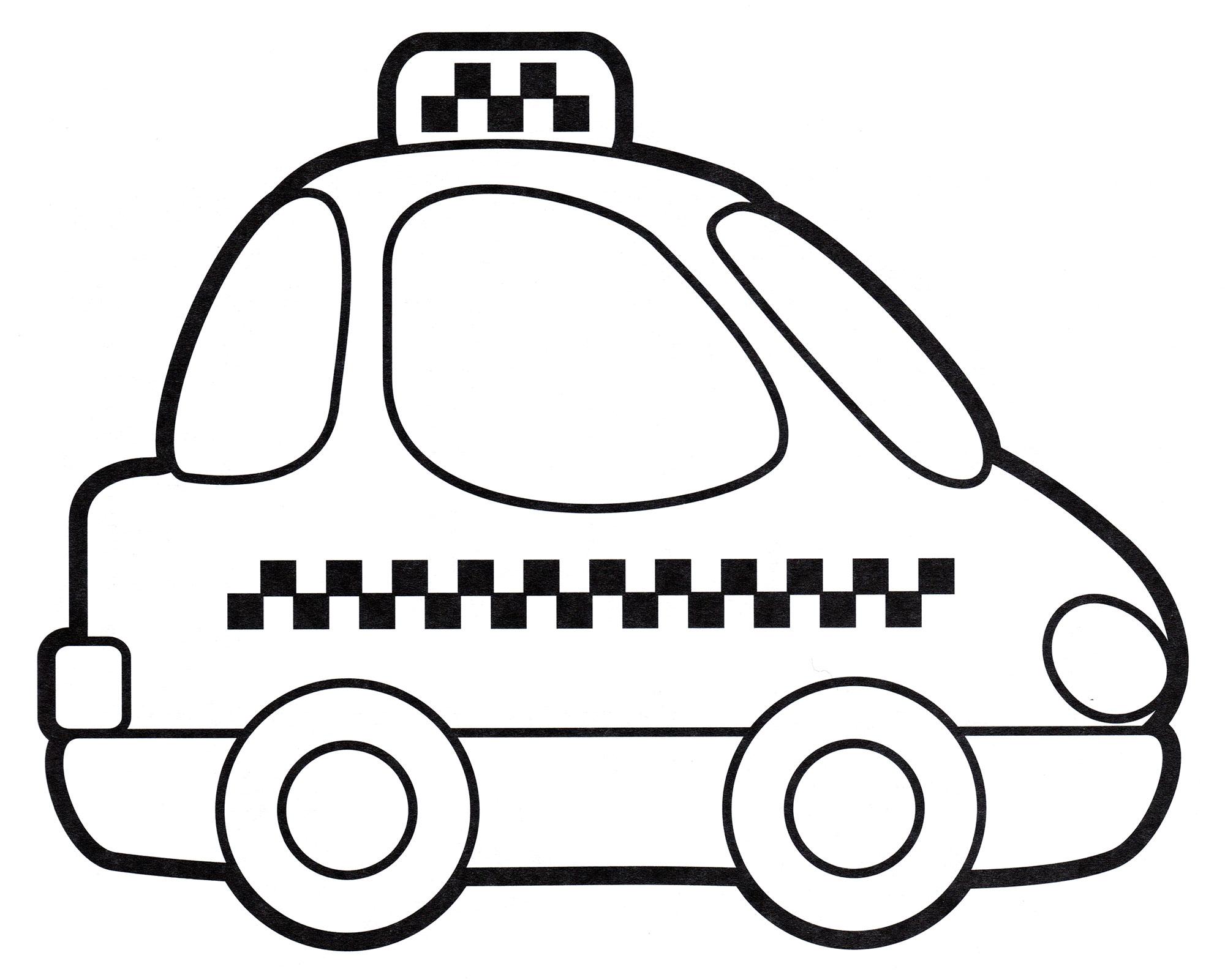 Раскраска Машинка такси - распечатать бесплатно