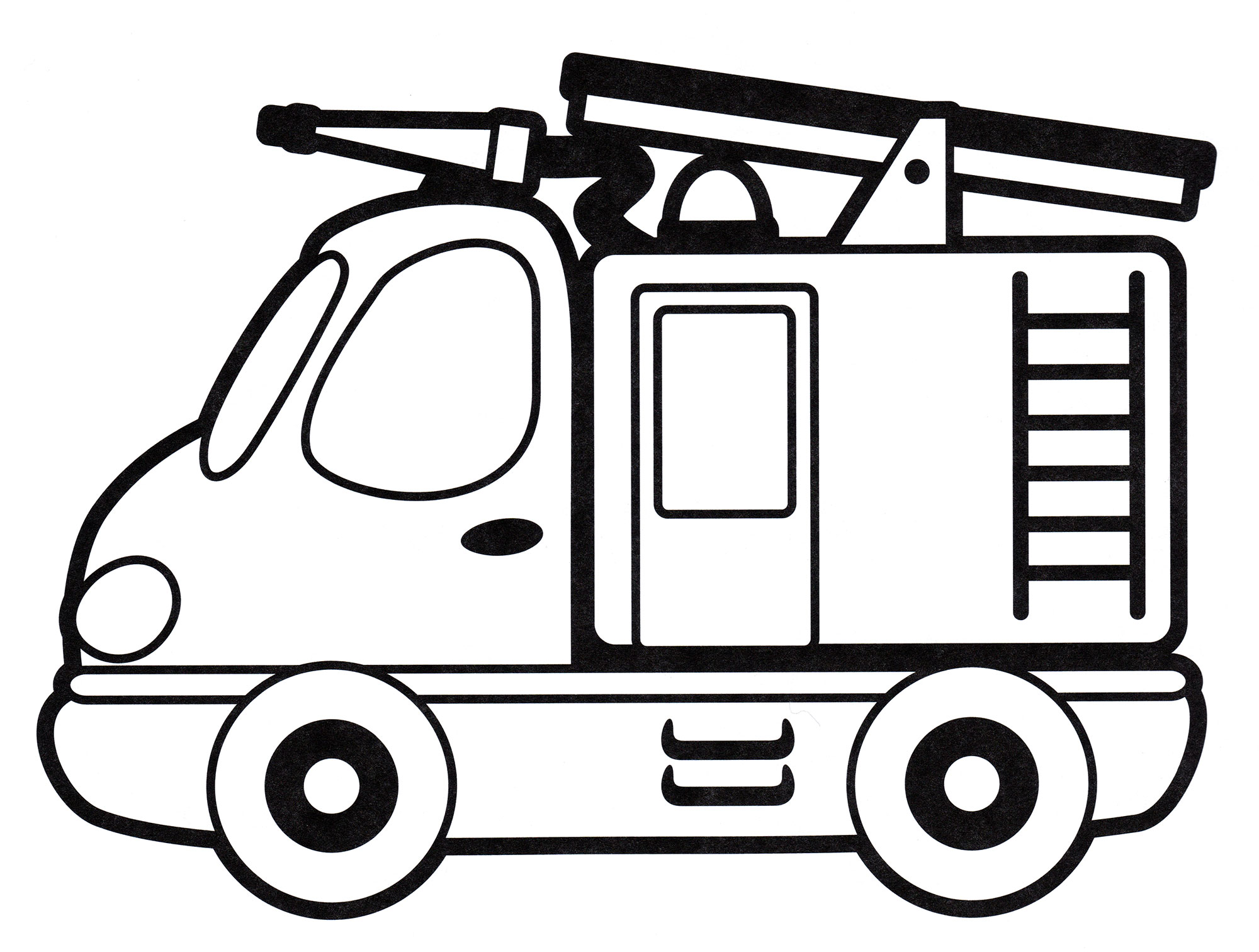 Раскраска Красивая пожарная машина - распечатать бесплатно