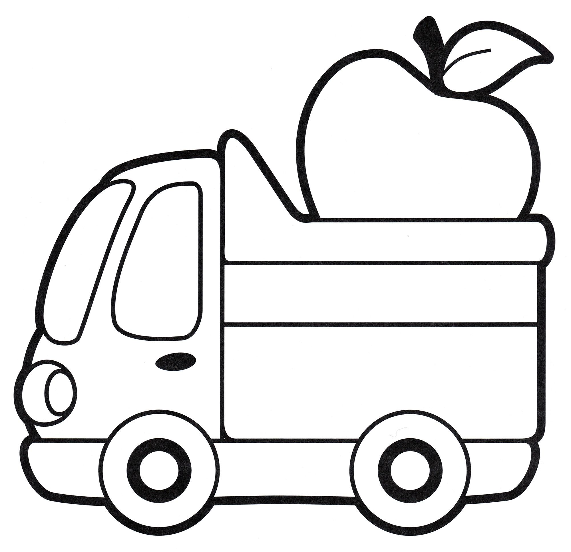 Раскраска Грузовик с яблоком | Раскраски Грузовики