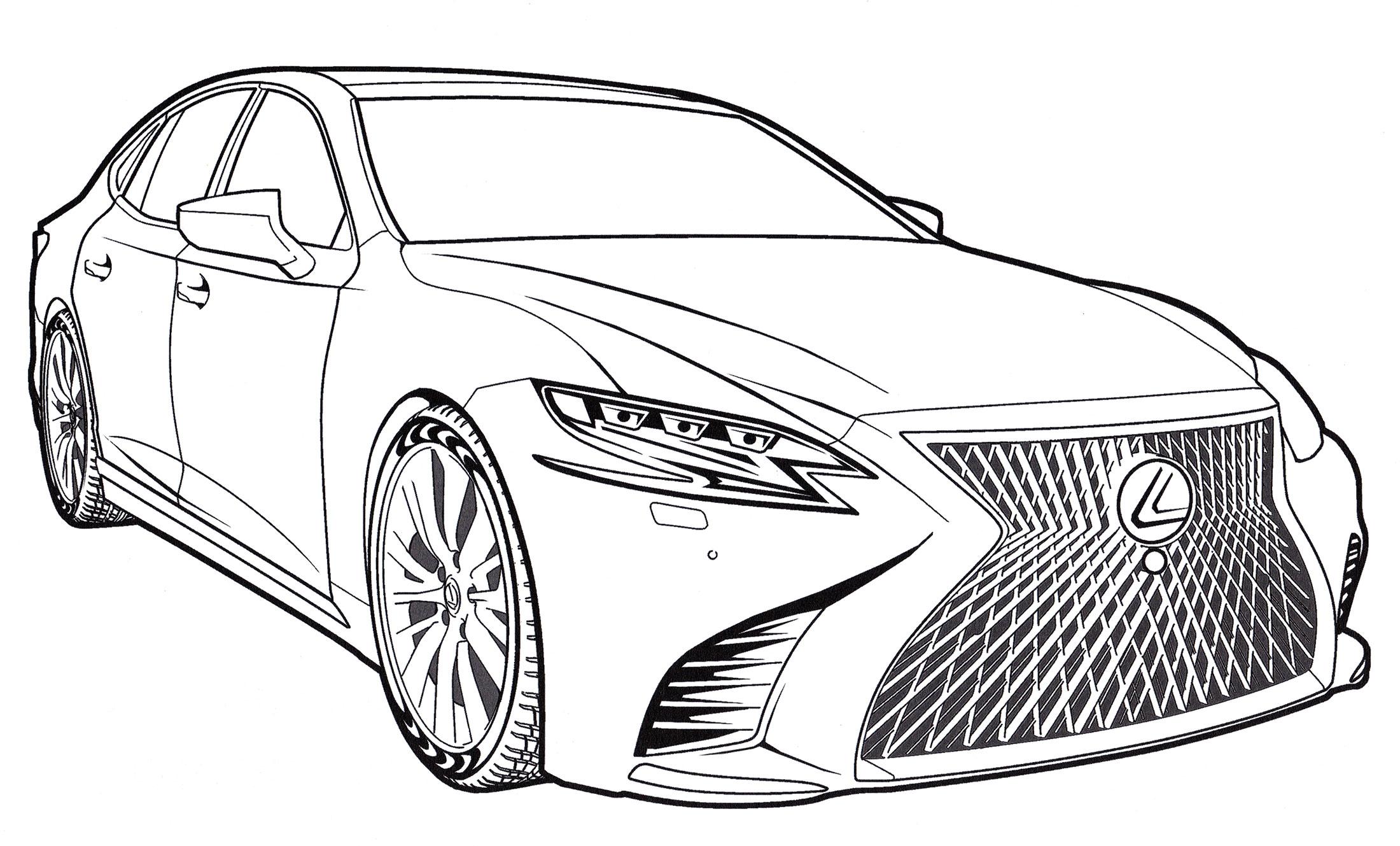 Раскраска Lexus LS 500 - распечатать бесплатно