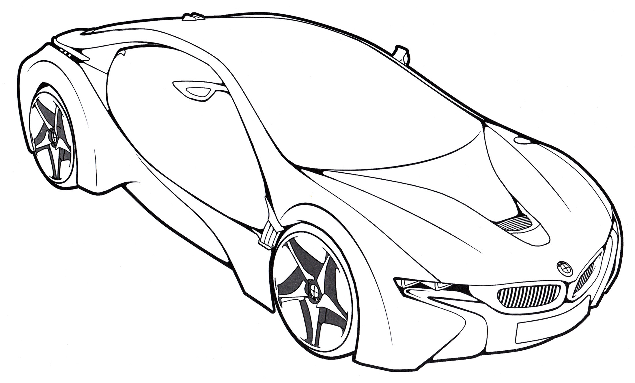 Раскраска BMW i8 VED - распечатать бесплатно