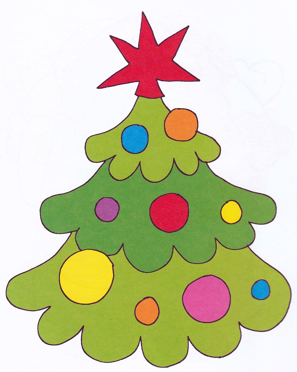Раскраска Новогодняя елка со звездой - распечатать бесплатно