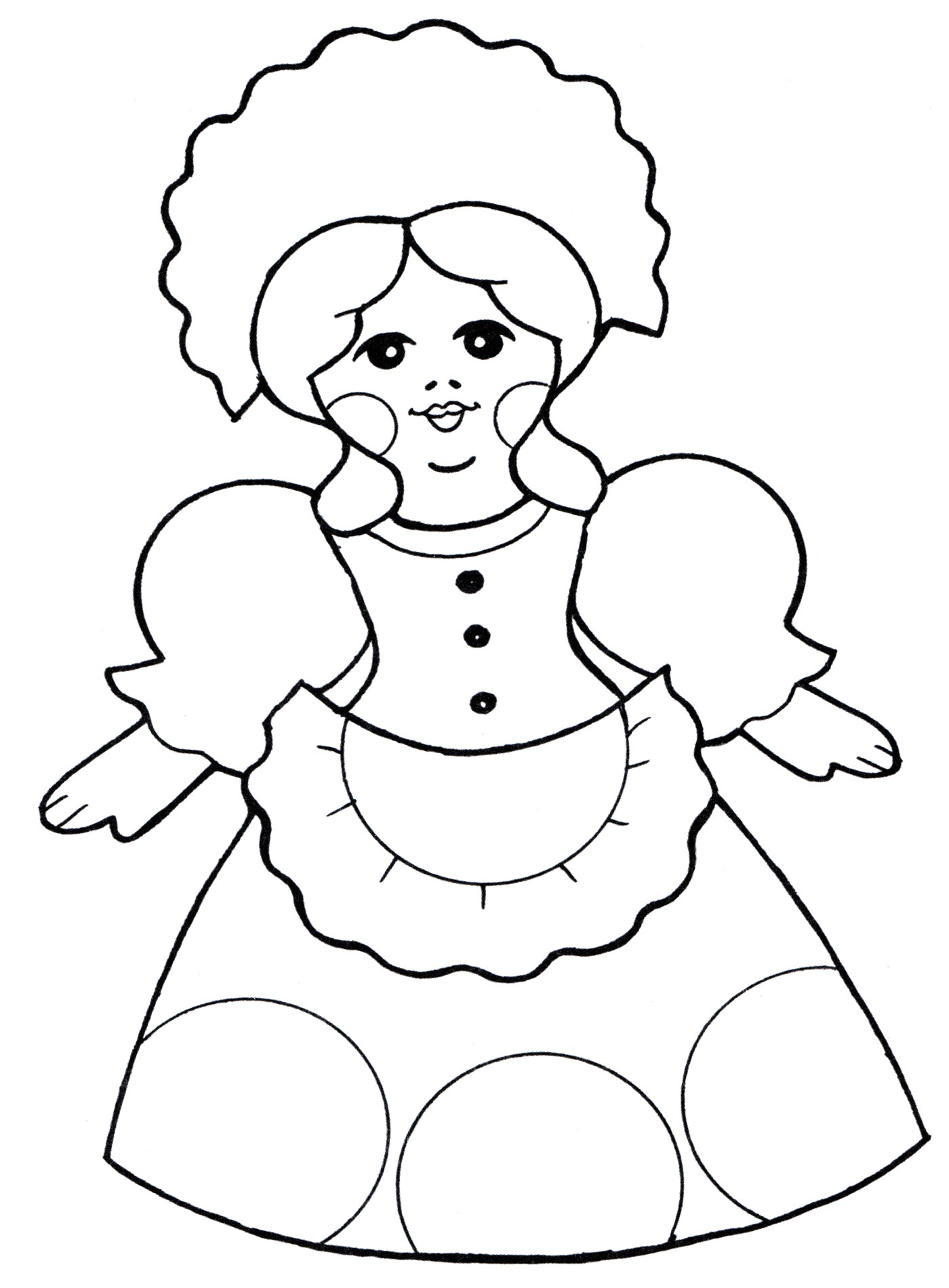 Раскраска Кукла в чепчике - распечатать бесплатно