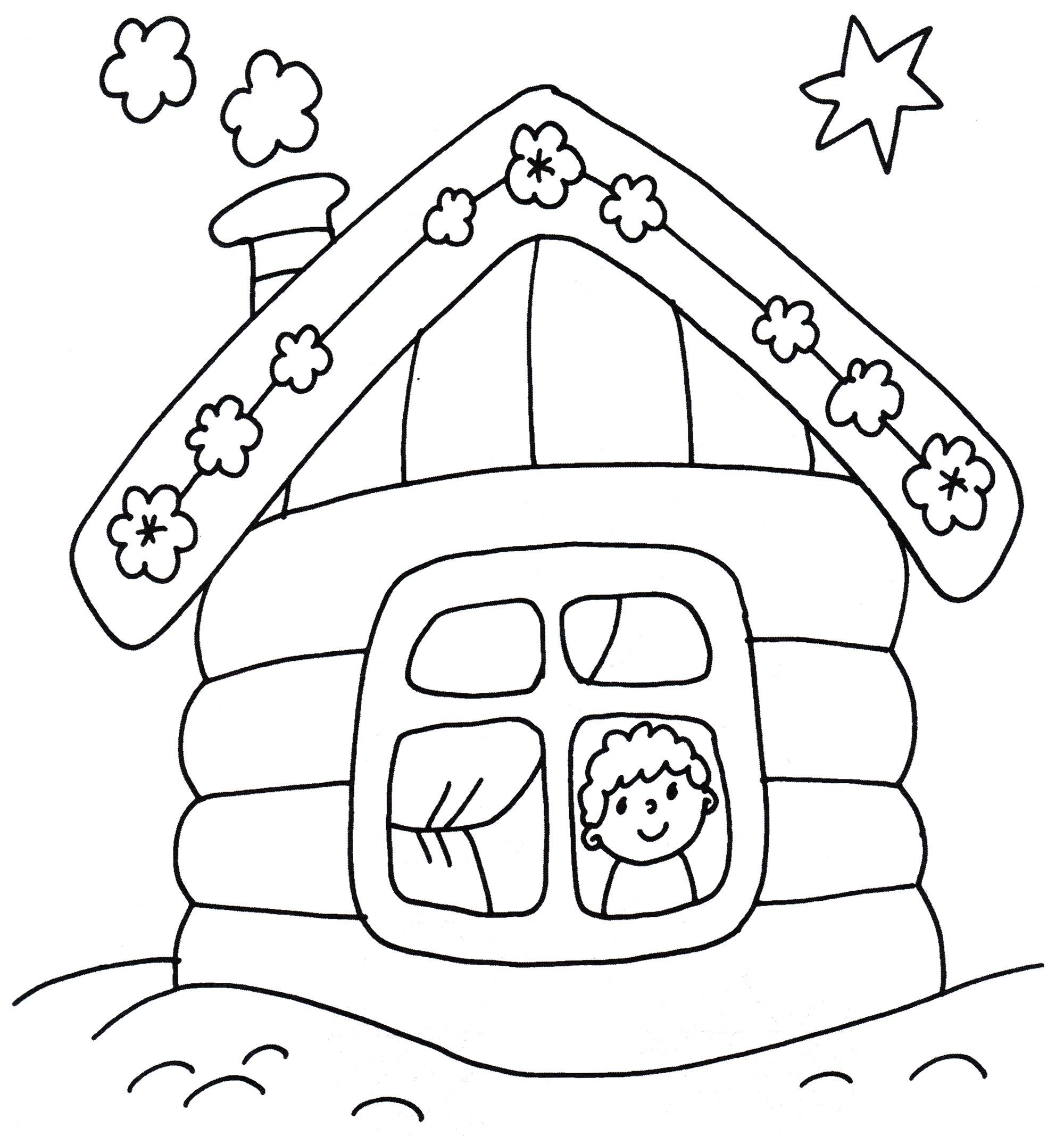 Раскраска Деревянный домик - распечатать бесплатно