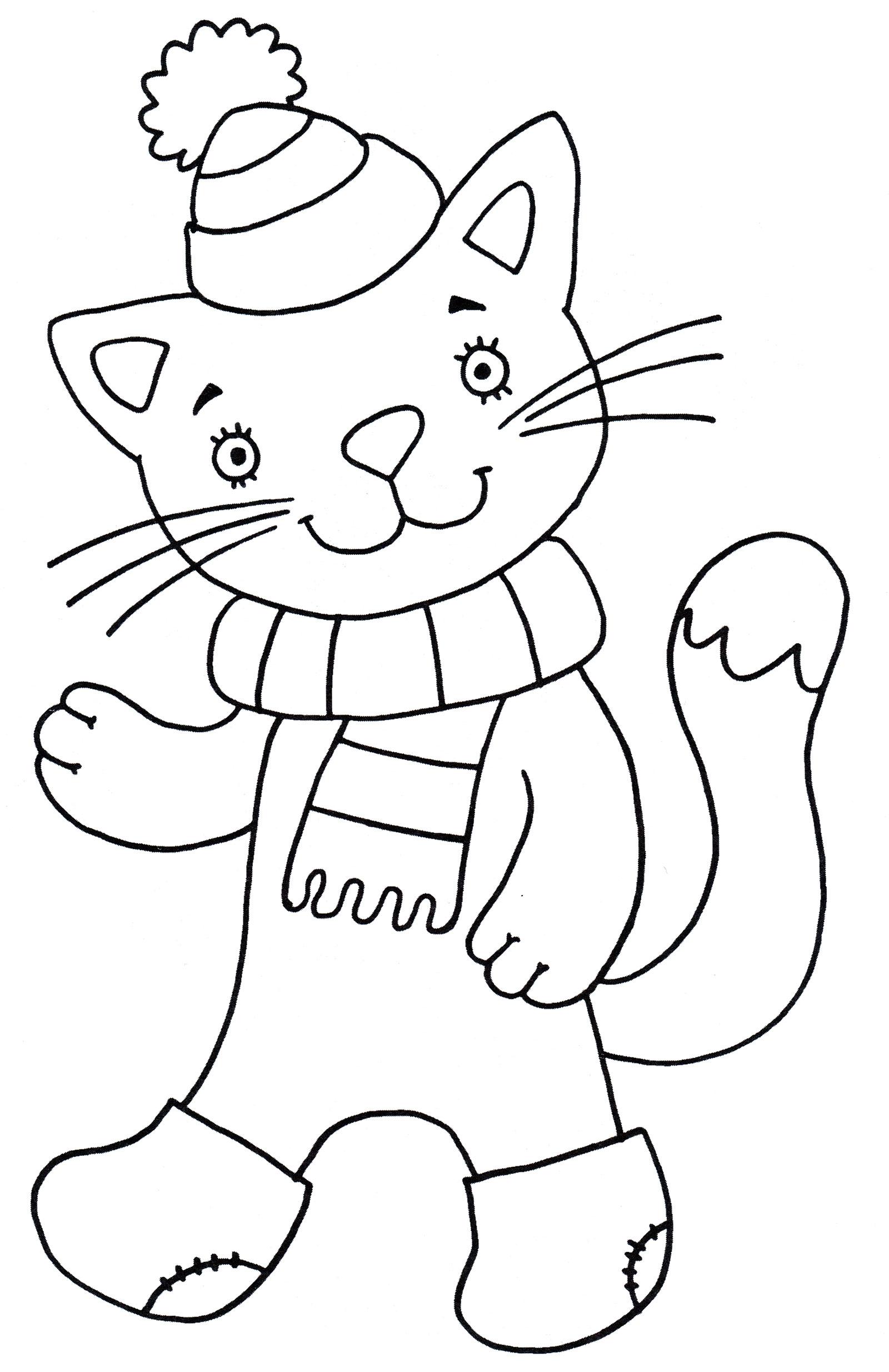 Раскраска Котик в шапке - распечатать бесплатно